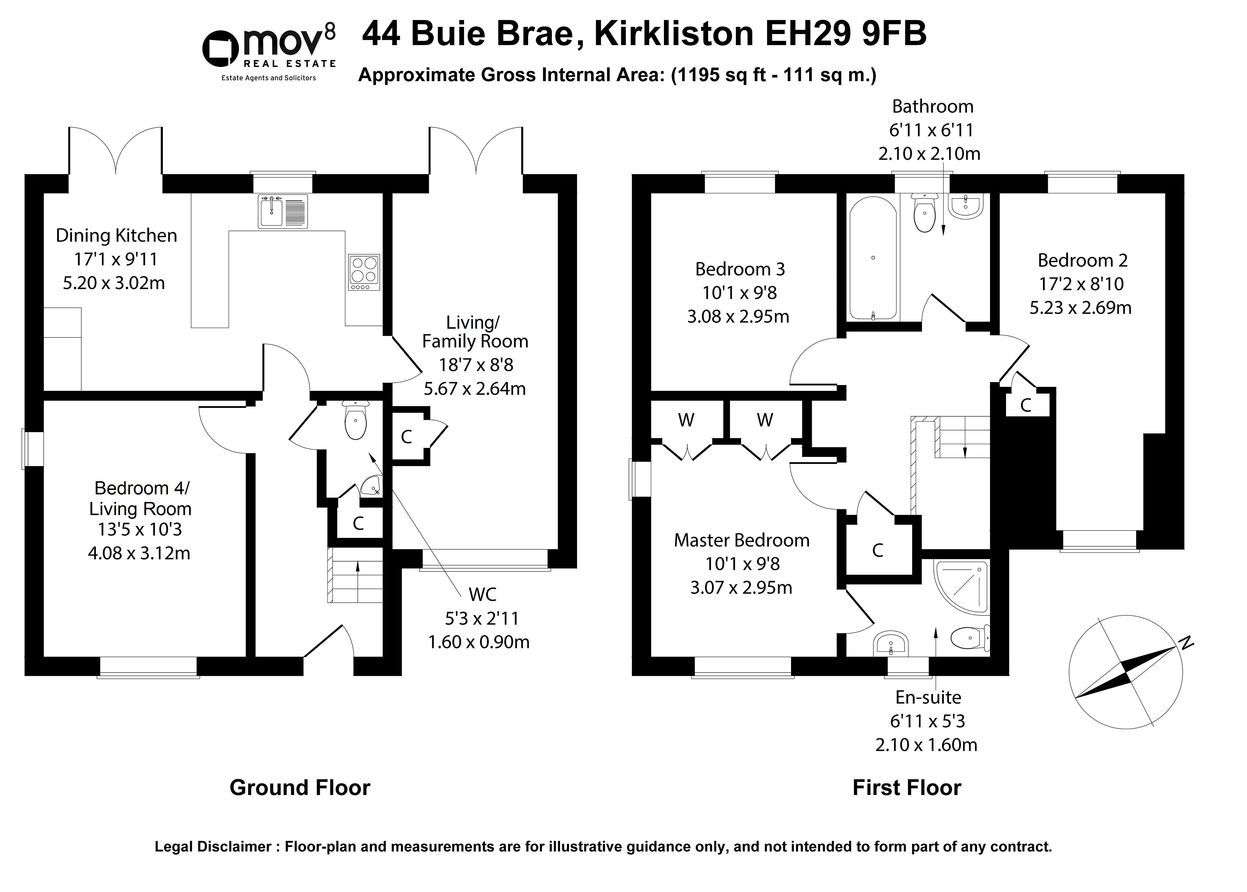 Floorplan 1 of 44 Buie Brae, Kirkliston, City of Edinburgh, EH29 9FB