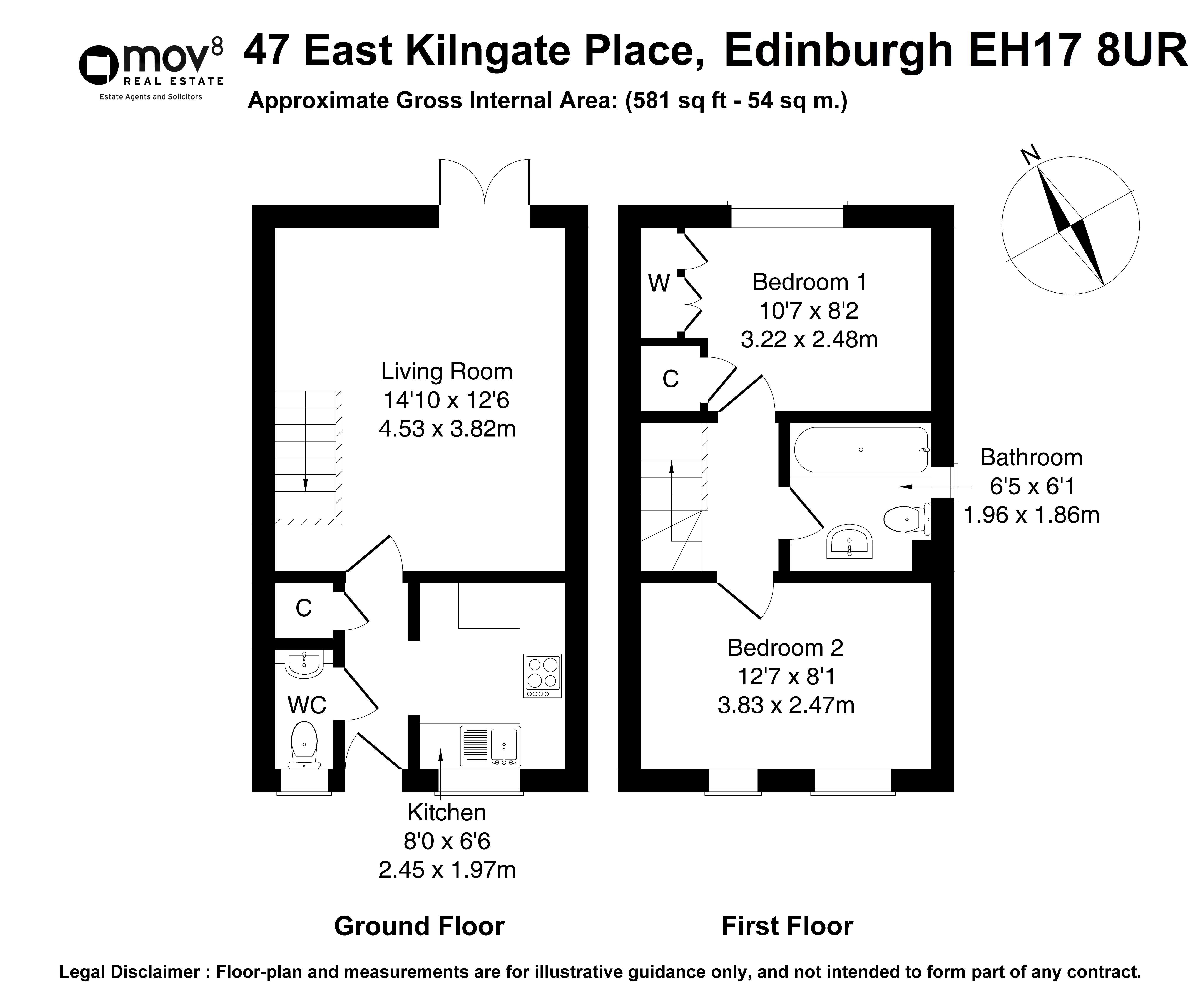 Floorplan 1 of 47 East Kilngate Place, Gilmerton, Edinburgh, EH17 8UR
