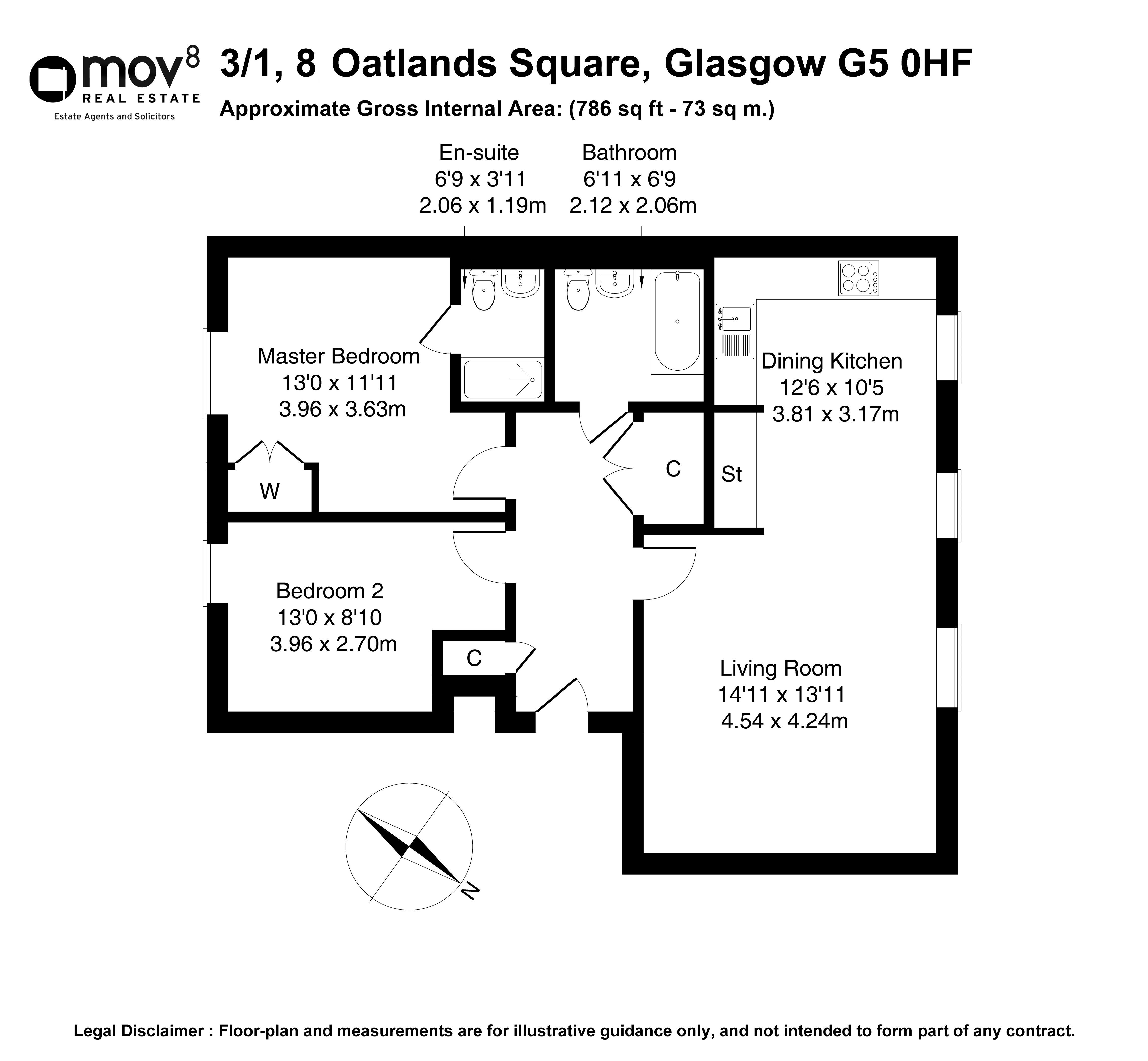Floorplan 1 of 3/1, 8 Oatlands Square, Oatlands, Glasgow, G5 0HF