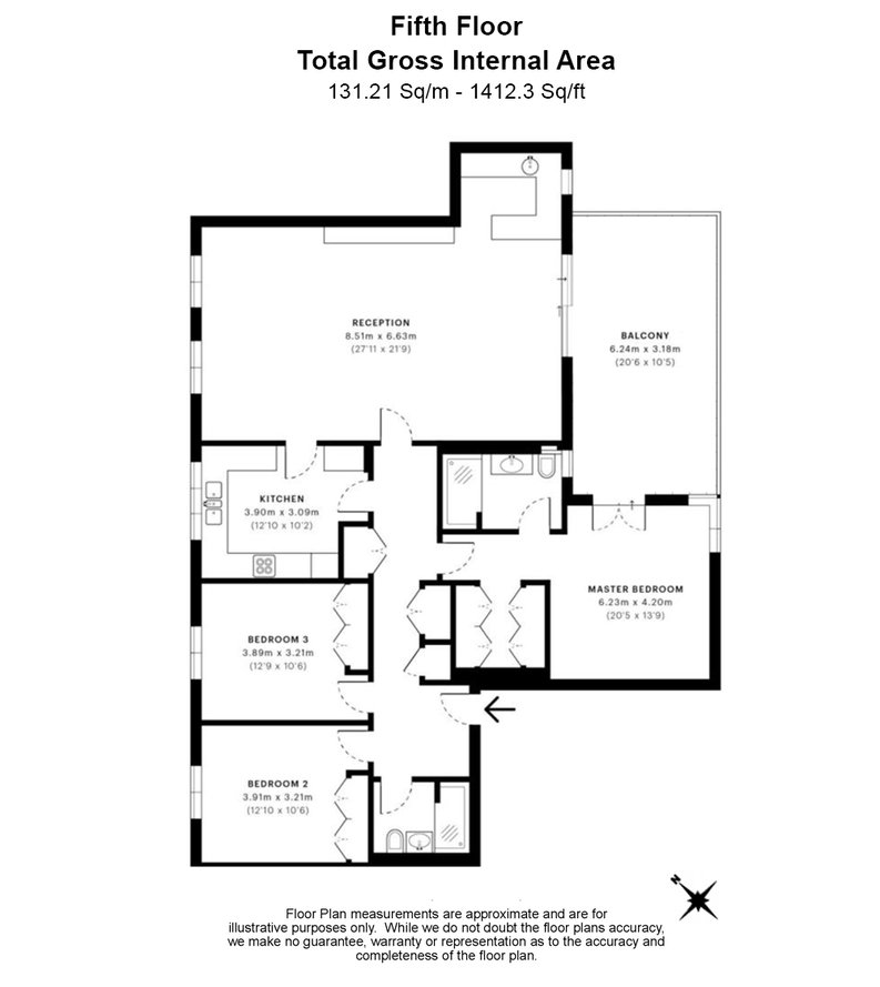 3 bedroom(s) apartment to sale in Chasewood Park, Sudbury Hill, Harrow-Floorplan