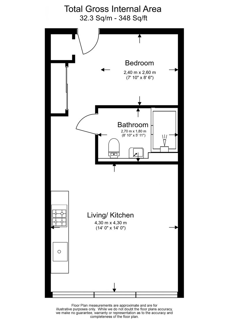 Studio apartment to sale in Westgate House, Ealing-Floorplan