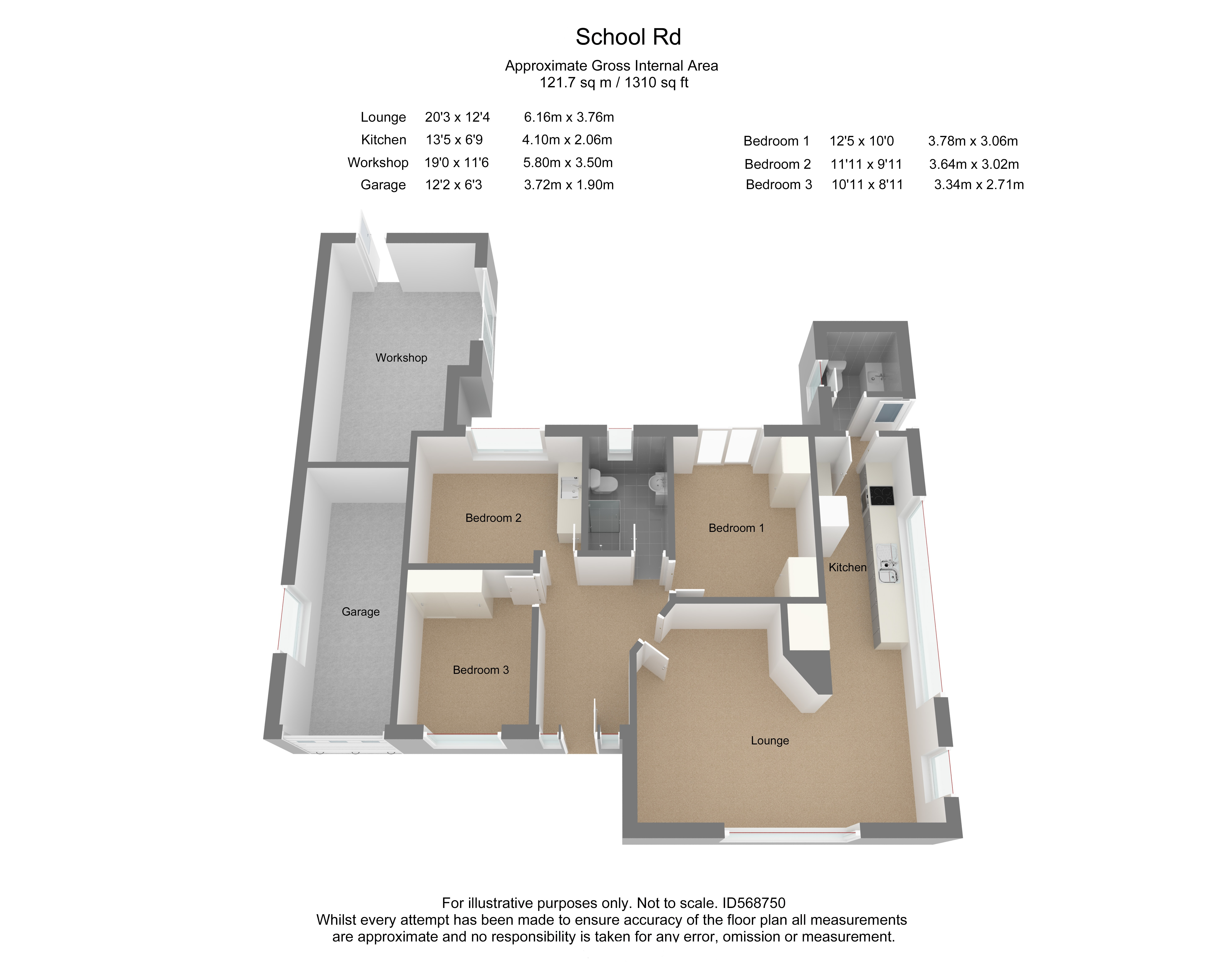 Floorplan for School Road, Frampton Cotterell.