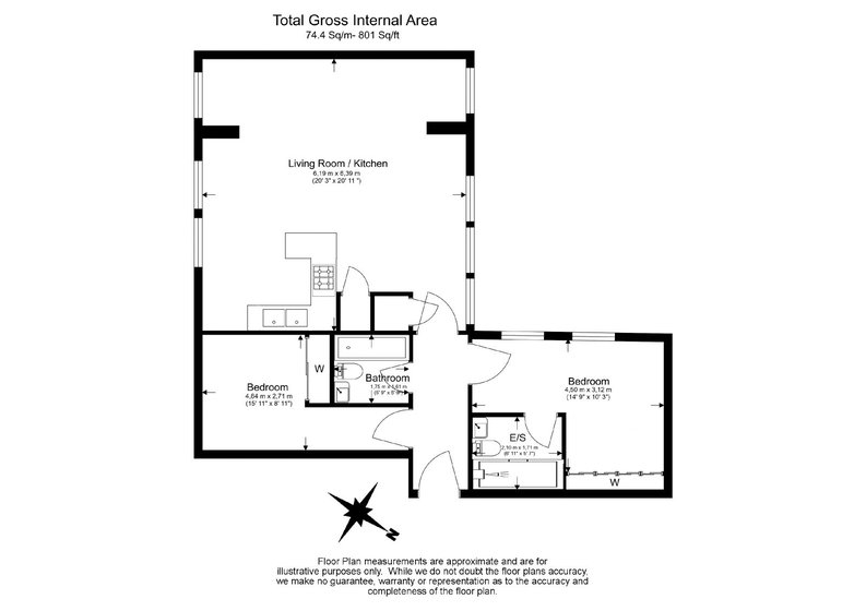 2 bedroom(s) apartment to sale in Sands End House, 120 Broughton Road, London-Floorplan