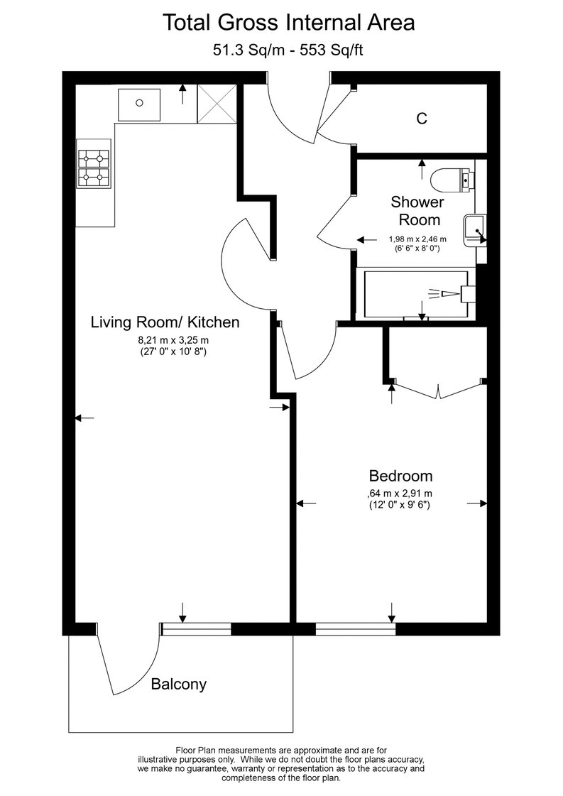 Studio apartment to sale in Cornelia House, 3 Caversham Road, Beaufort Park, London-Floorplan