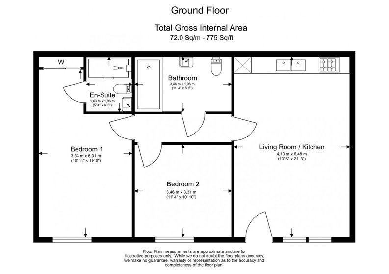 2 bedroom(s) apartment to sale in Vita Apartments, 1 Caithness Walk, Surrey, Croydon-Floorplan