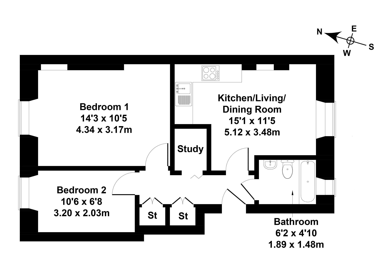 Floorplan 1 of 9/1, Rosevale Terrace, Leith Links, Edinburgh, EH6 8AR
