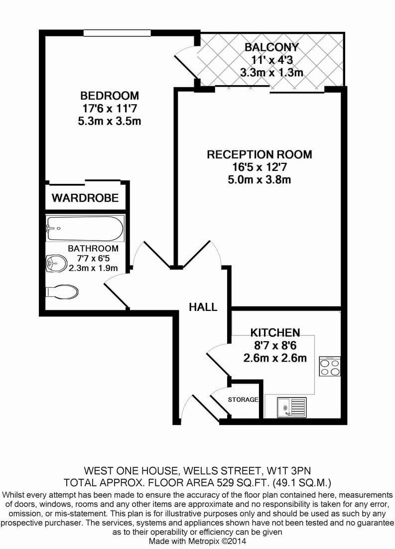 1 bedroom(s) apartment to sale in West One House, 48 Wells Street, Fitzrovia , London-Floorplan