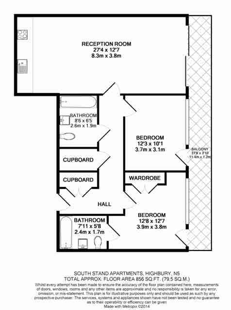 2 bedroom(s) apartment to sale in Highbury Stadium Square, London-Floorplan