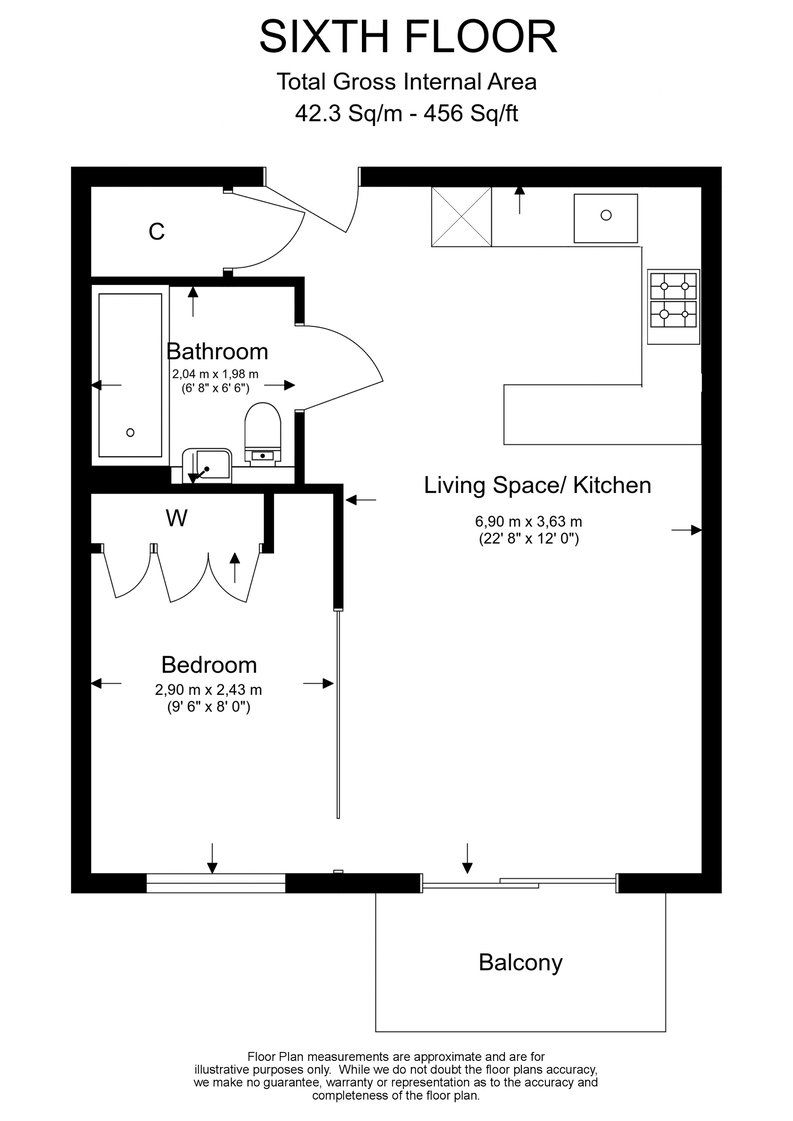 1 bedroom(s) apartment to sale in Argent House, 3 Beaufort Square, Beaufort Park, Colindale-Floorplan