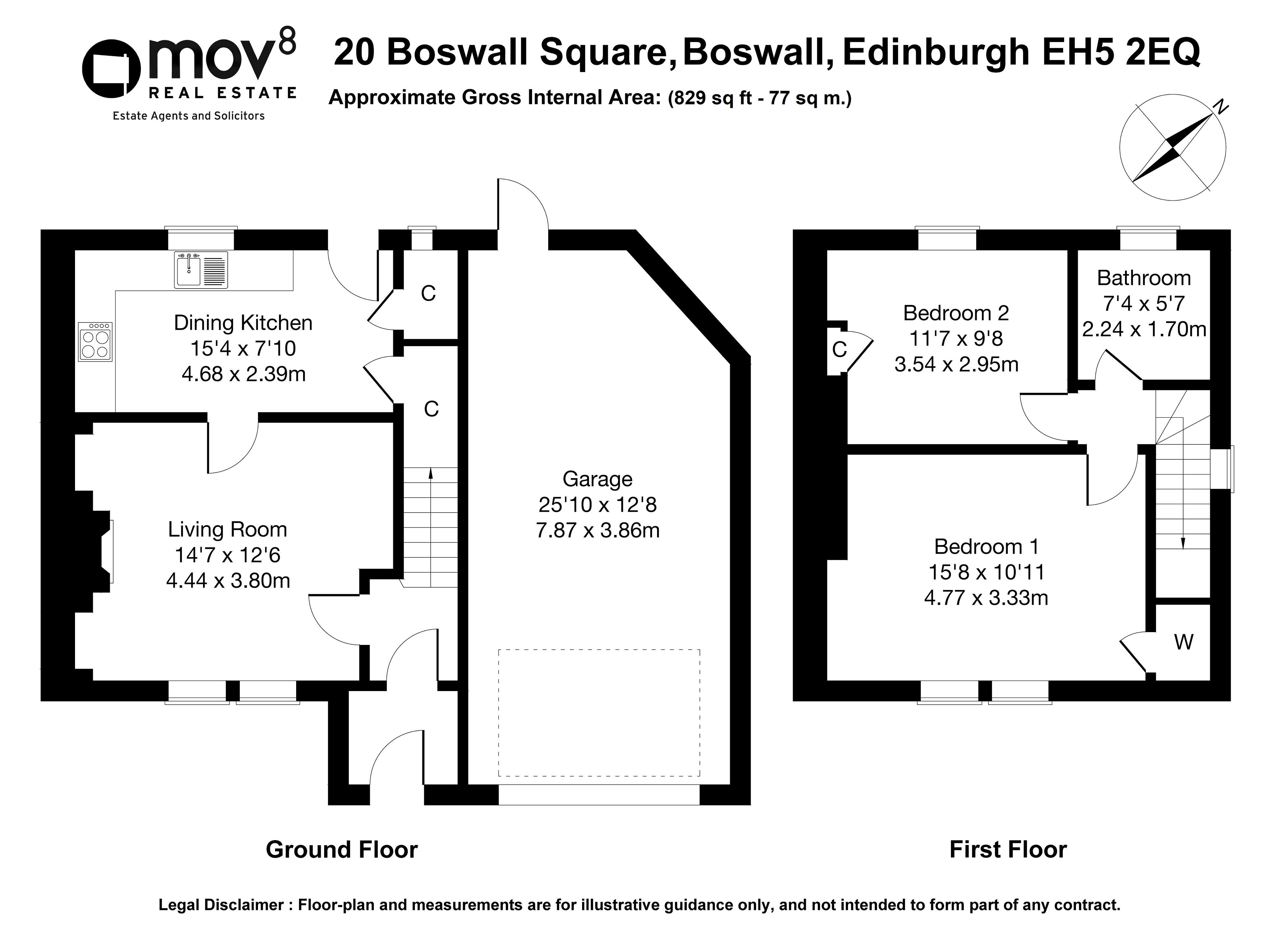 Floorplan 1 of 20 Boswall Square, Boswall, Edinburgh, EH5 2EQ