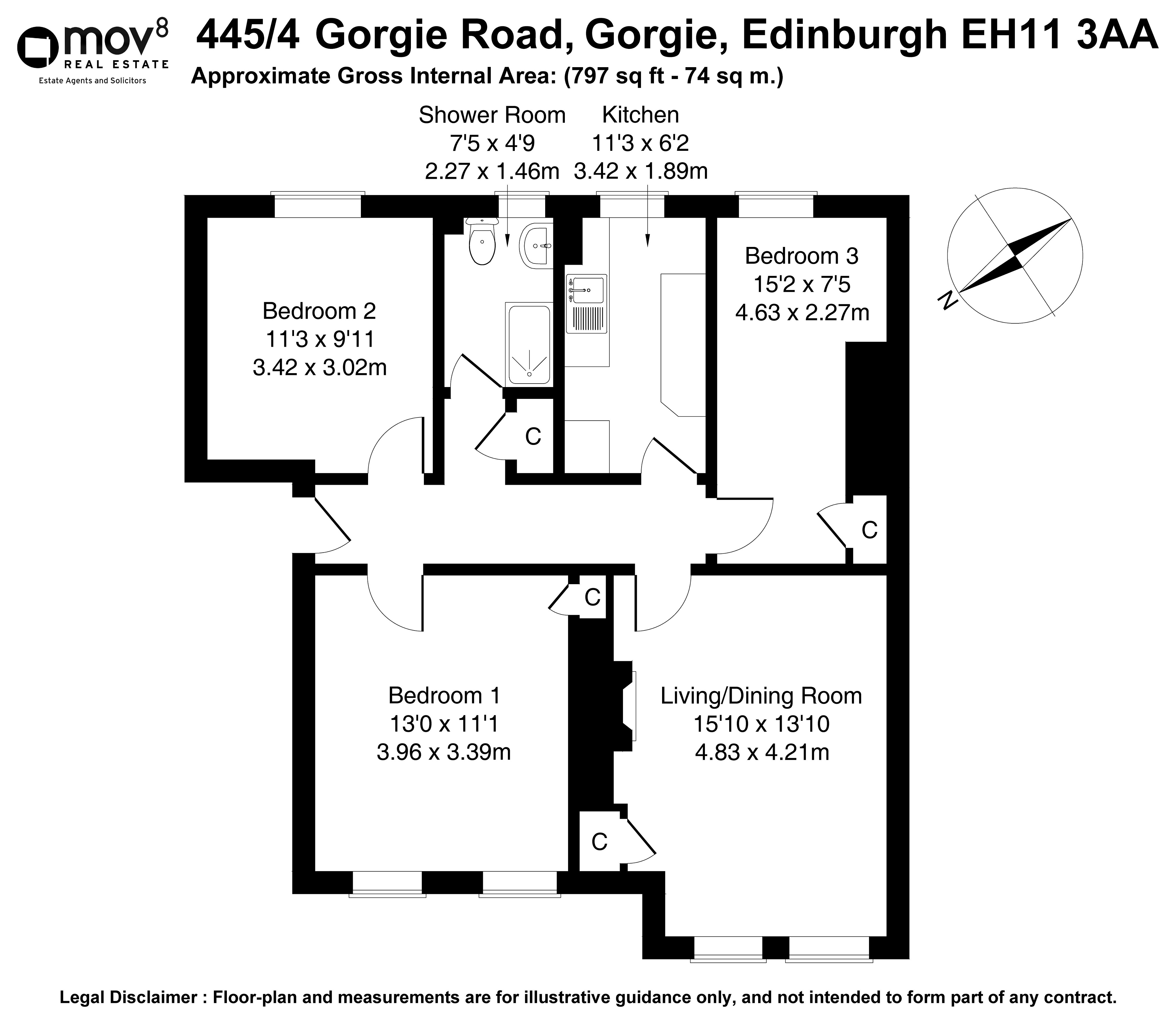 Floorplan 1 of 445/4, Gorgie Road, Gorgie, Edinburgh, EH11 3AA