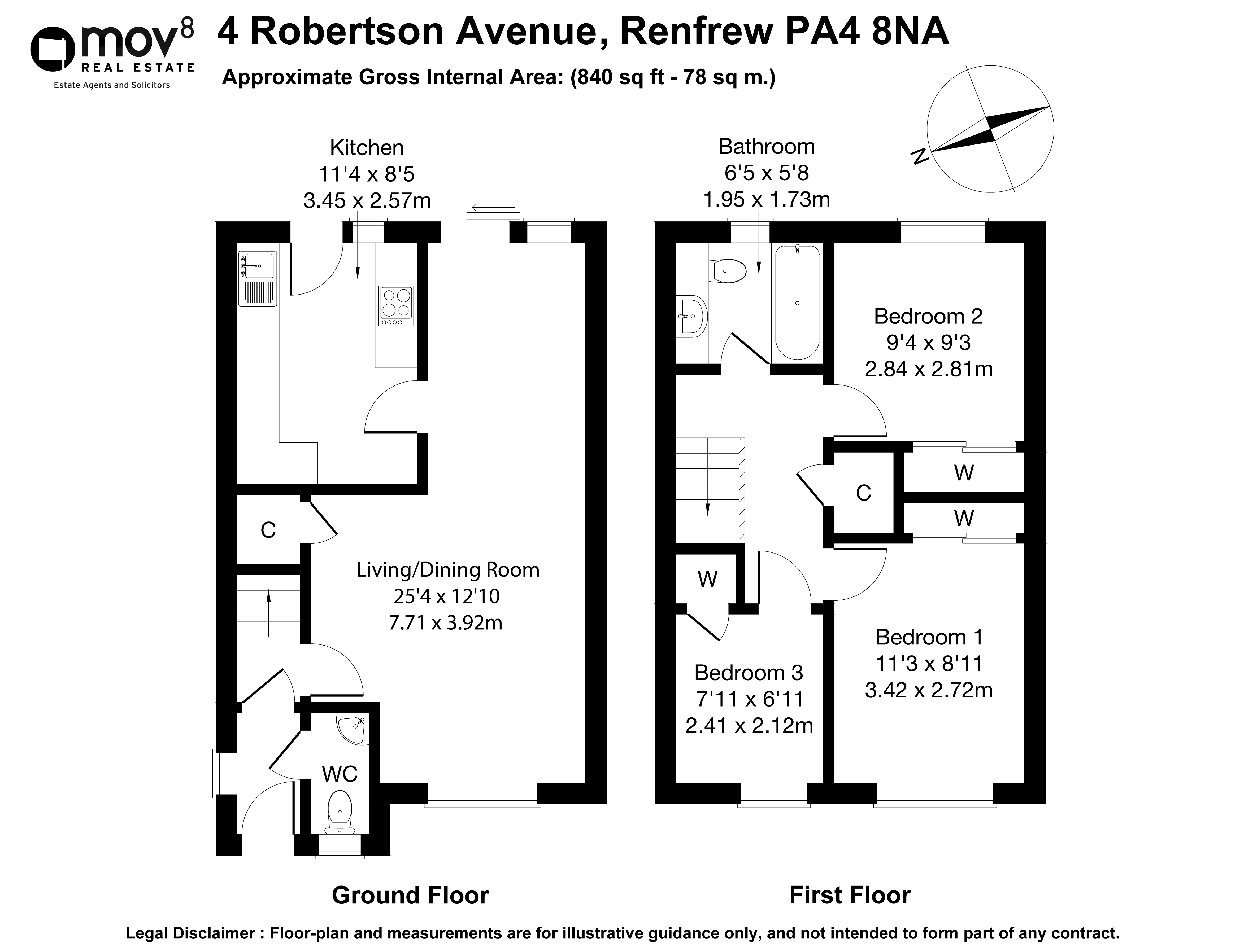 Floorplan 1 of 4 Robertson Avenue, Renfrew, PA4 8NA