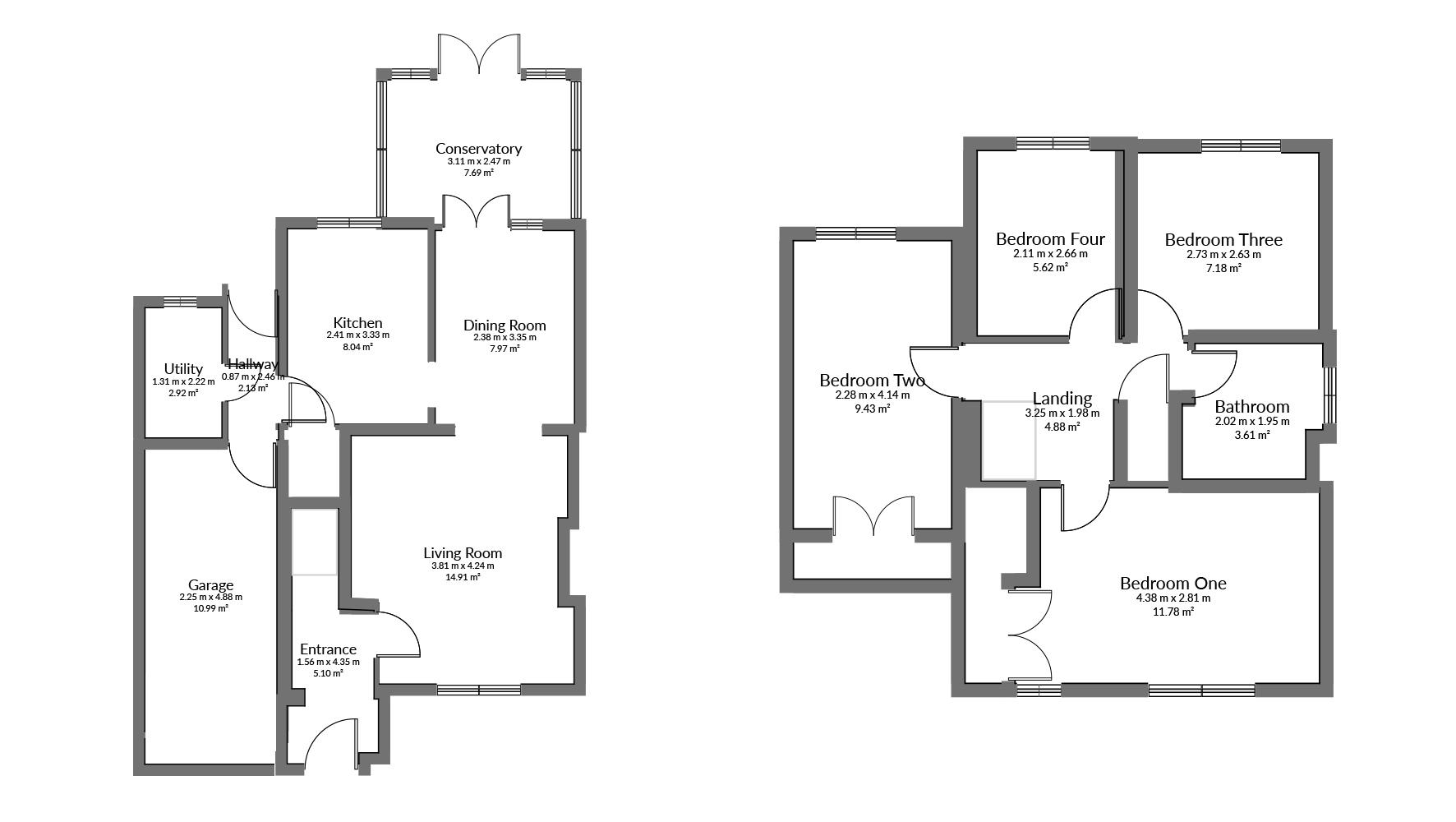 Floorplan for Brookfield Close, Chipping Sodbury.