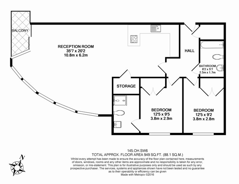 2 bedroom(s) apartment to sale in Octavia House, 213 Townmead Road, Fulham-Floorplan