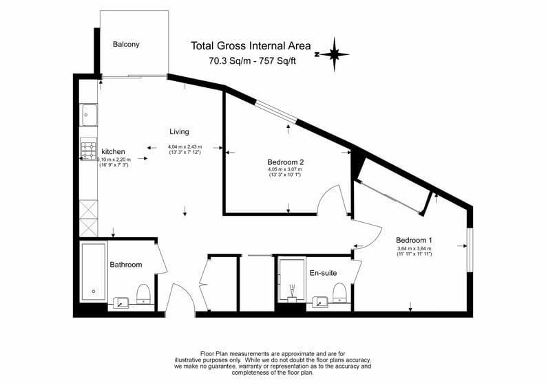 2 bedroom(s) apartment to sale in Gillender Street, Bow Creek-Floorplan