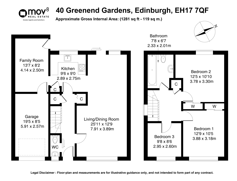 Floorplan 1 of 40 Greenend Gardens, Liberton, Edinburgh, EH17 7QF