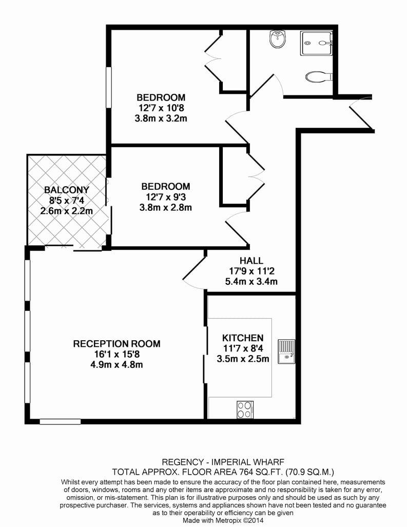 2 bedroom(s) apartment to sale in Regency House, The Boulevard, Imperial Wharf, Fulham-Floorplan