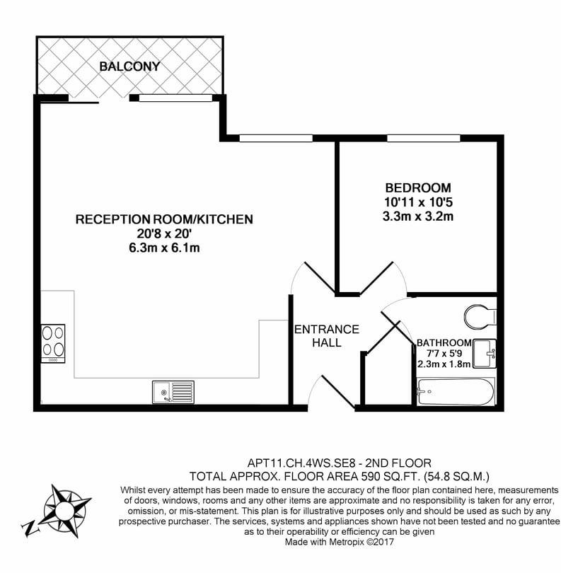 1 bedroom(s) apartment to sale in Cornmill House, Wharf Street, Deptford-Floorplan