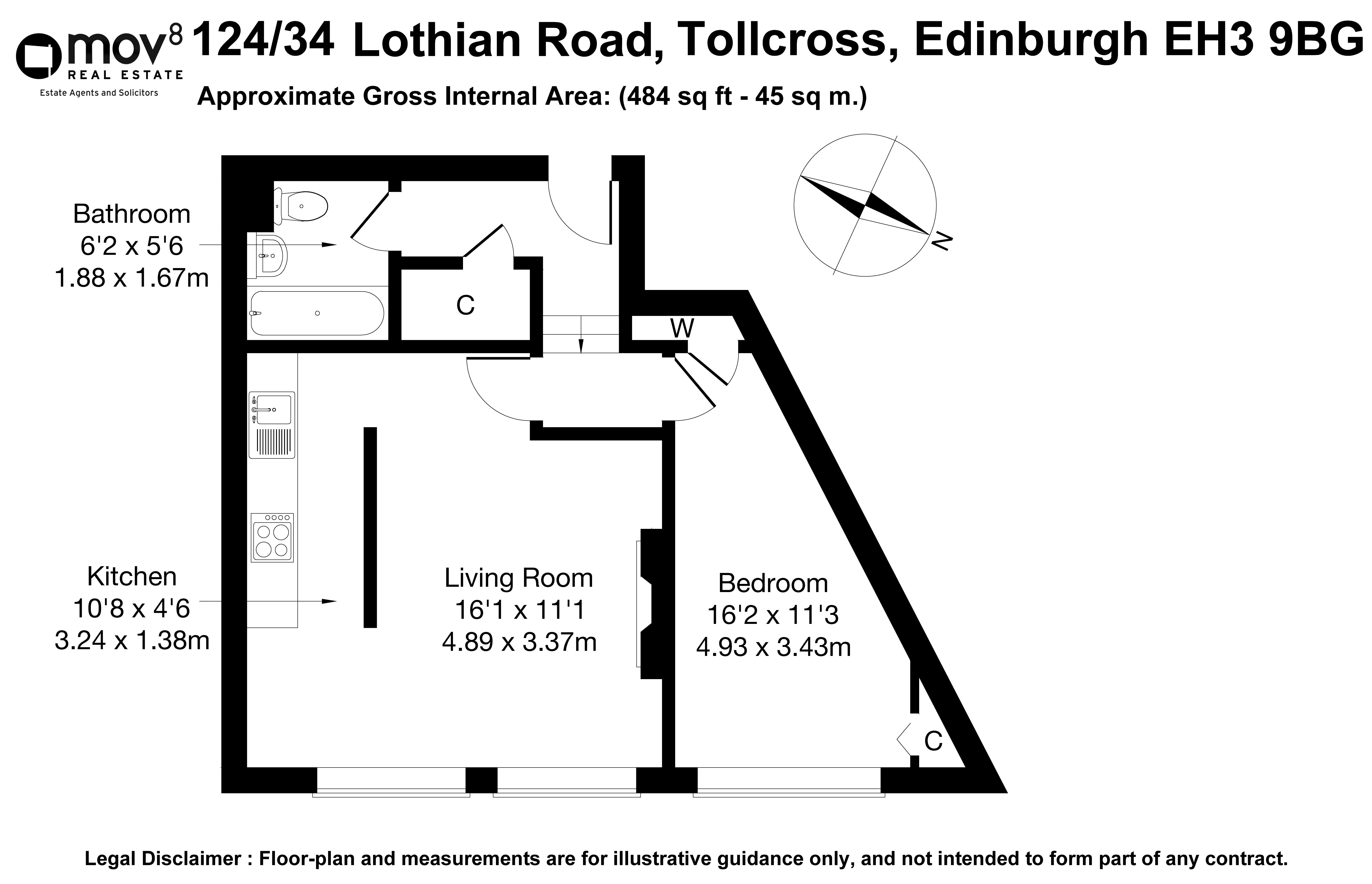 Floorplan 1 of 124/34 Lothian House, Lothian Road, Tollcross, Edinburgh, EH3 9BG