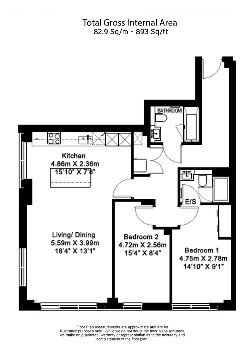 2 bedroom(s) apartment to sale in Belgravia House, Dickens Yard, Ealing-Floorplan