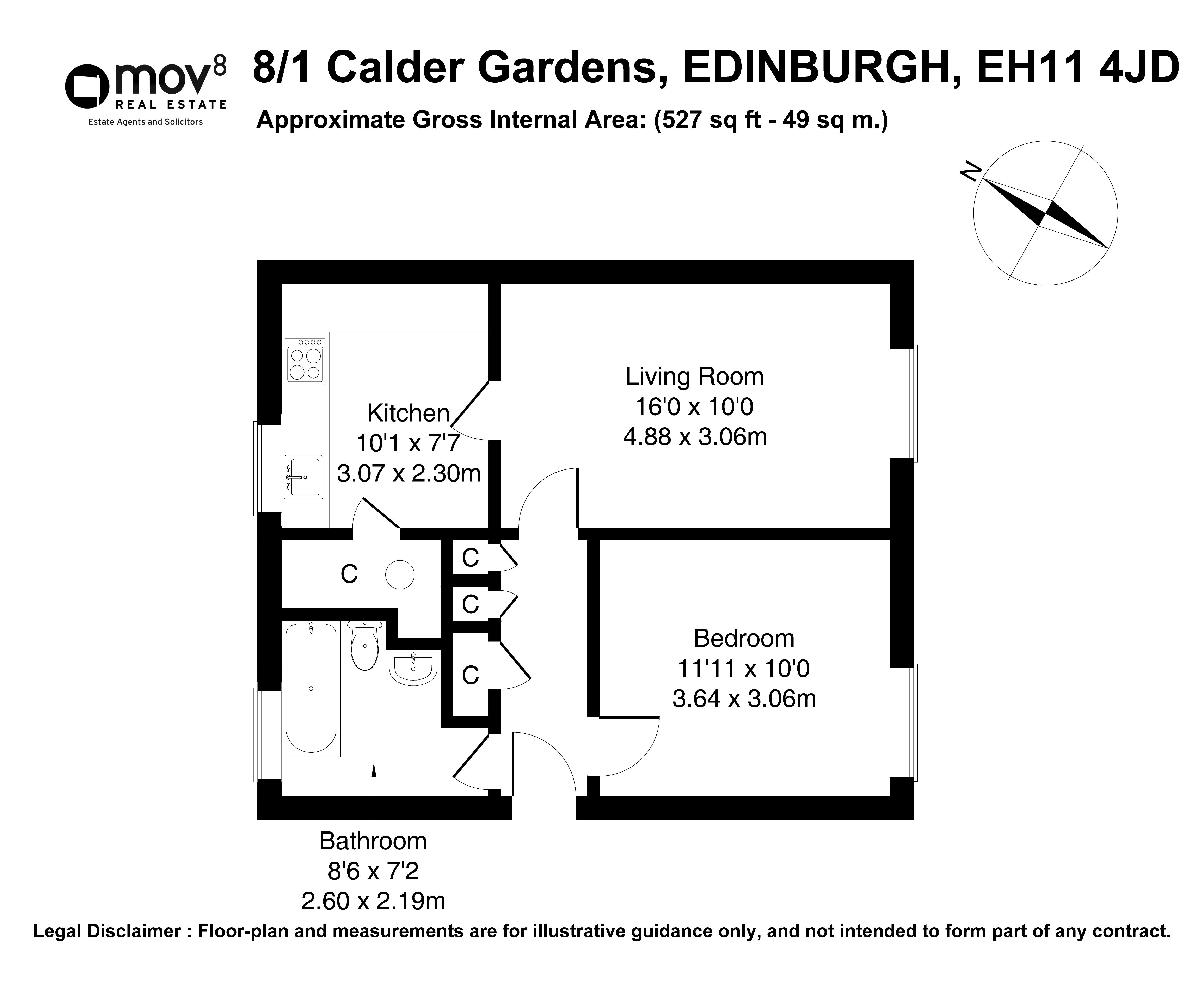 Floorplan 1 of 8/1, Calder Gardens, Sighthill, Edinburgh, EH11 4JD