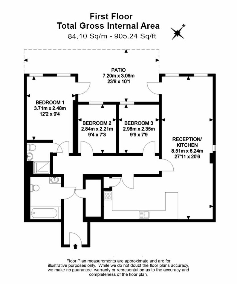 3 bedroom(s) apartment to sale in Sunflower Court, Seven Sisters Road, Finsbury Park, London-Floorplan