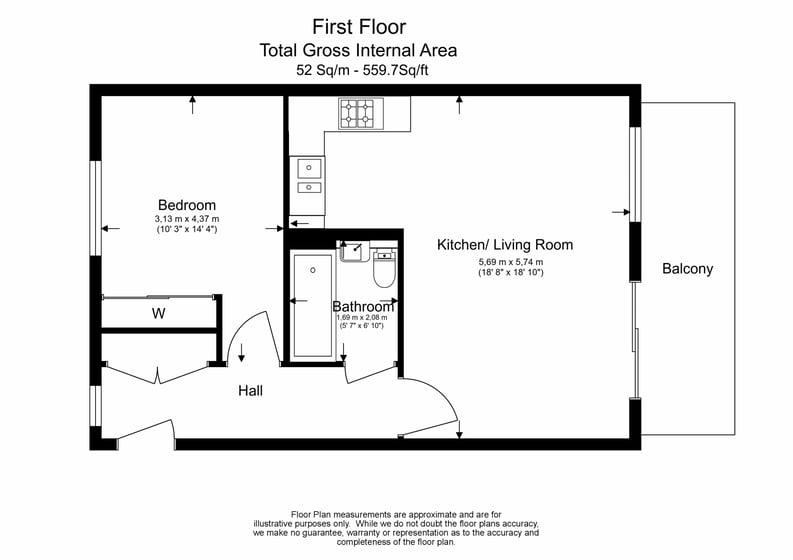 1 bedroom(s) apartment to sale in Newington House, 10 Lismore Boulevard, Colindale Gardens-Floorplan