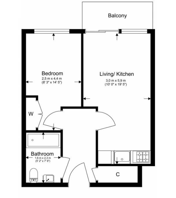 1 bedroom(s) apartment to sale in Croft House, 21 Heritage Avenue, Beaufort Park , London-Floorplan