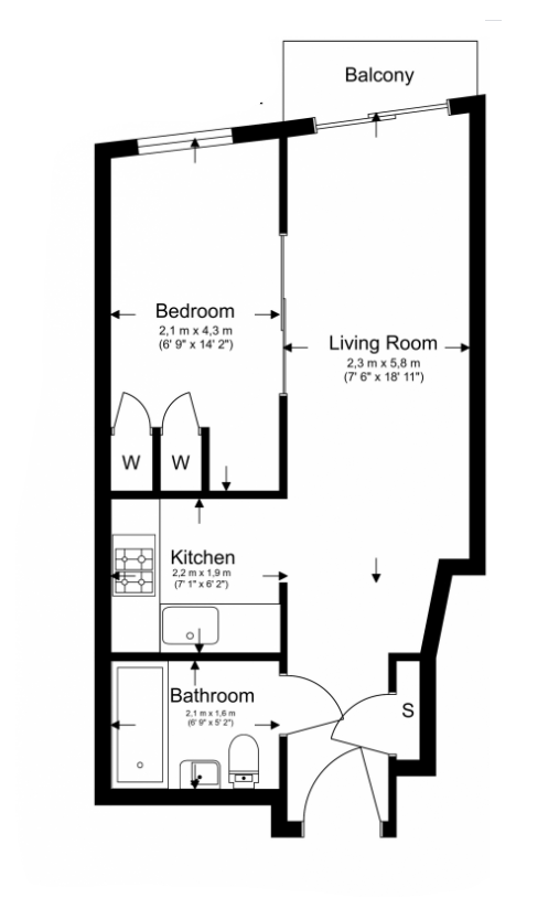 Studio apartment to sale in Ascent House, 12 Boulevard Drive, Beaufort Park , London-Floorplan