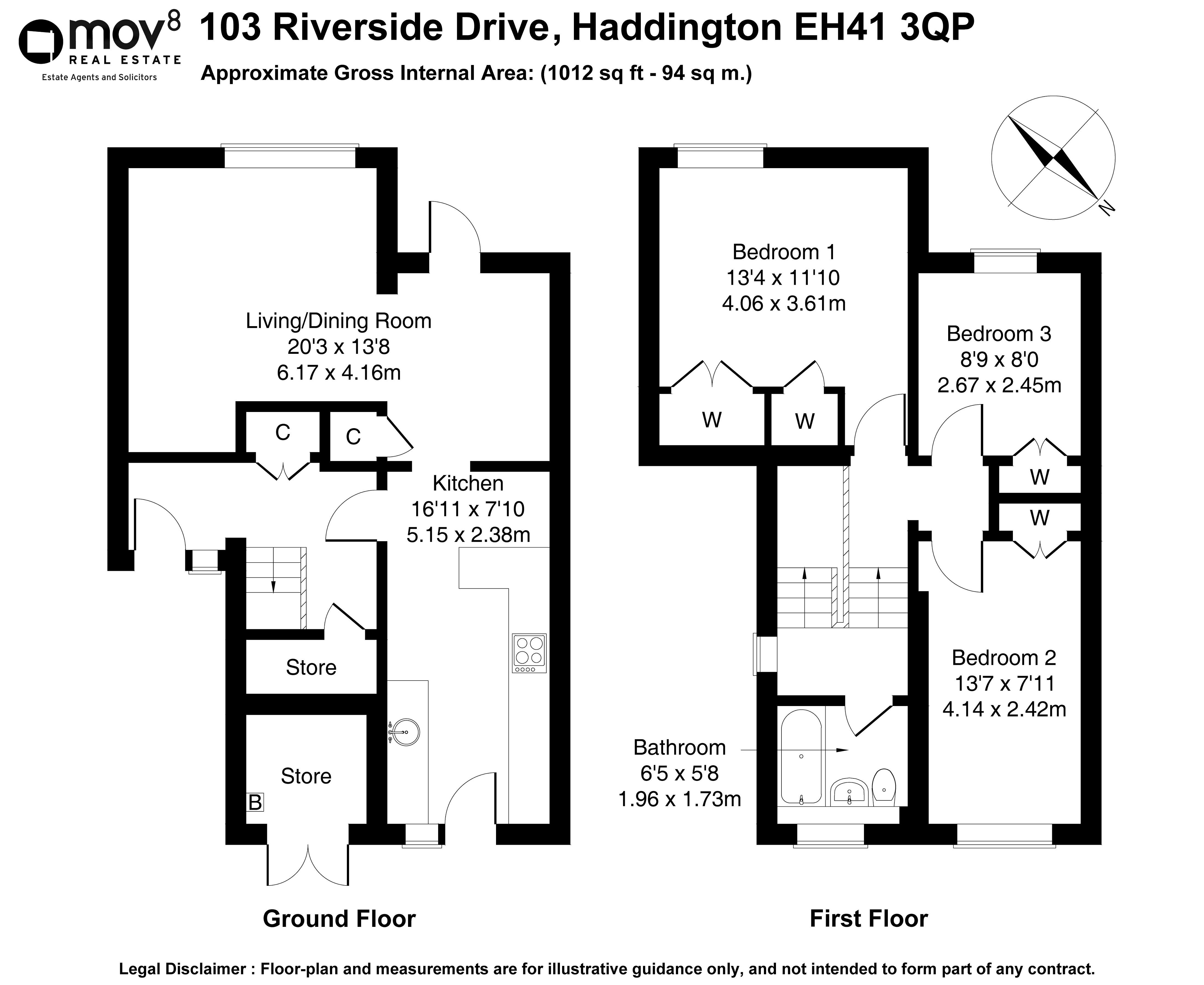 Floorplan 1 of 103 Riverside Drive, Haddington, East Lothian, EH41 3QP