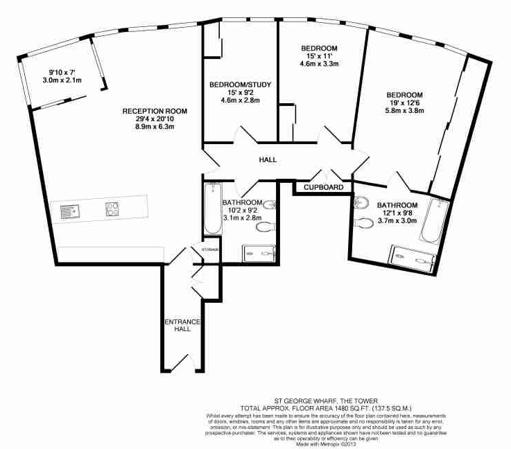 3 bedroom(s) apartment to sale in St George Wharf, Vauxhall, London-Floorplan