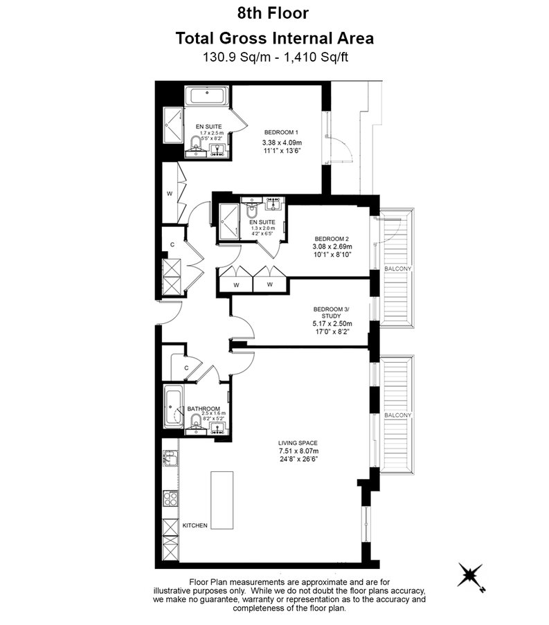 3 bedroom(s) apartment to sale in Golding House, Beaufort Square, Colindale-Floorplan
