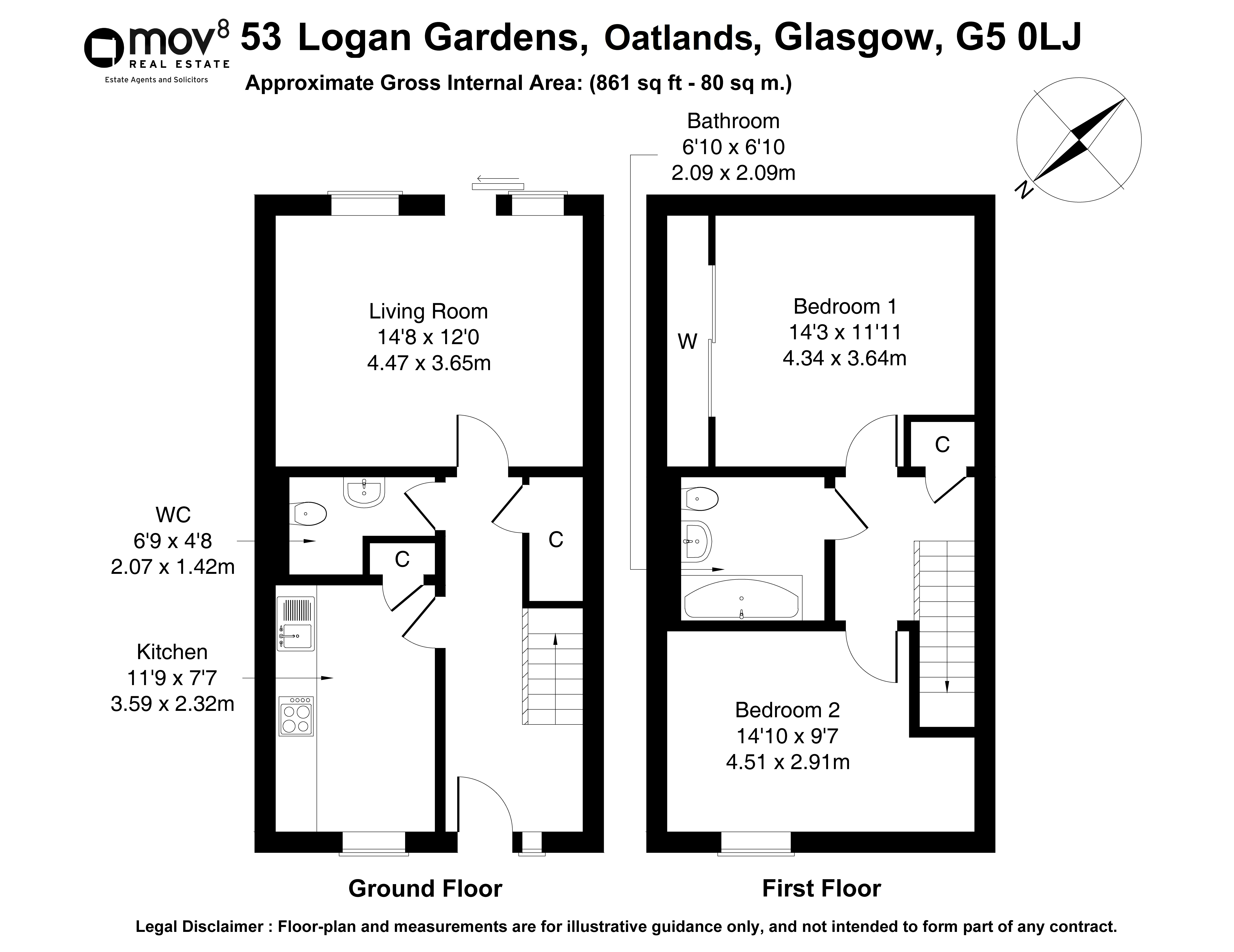 Floorplan 1 of 53 Logan Gardens, Oatlands, Glasgow, G5 0LJ