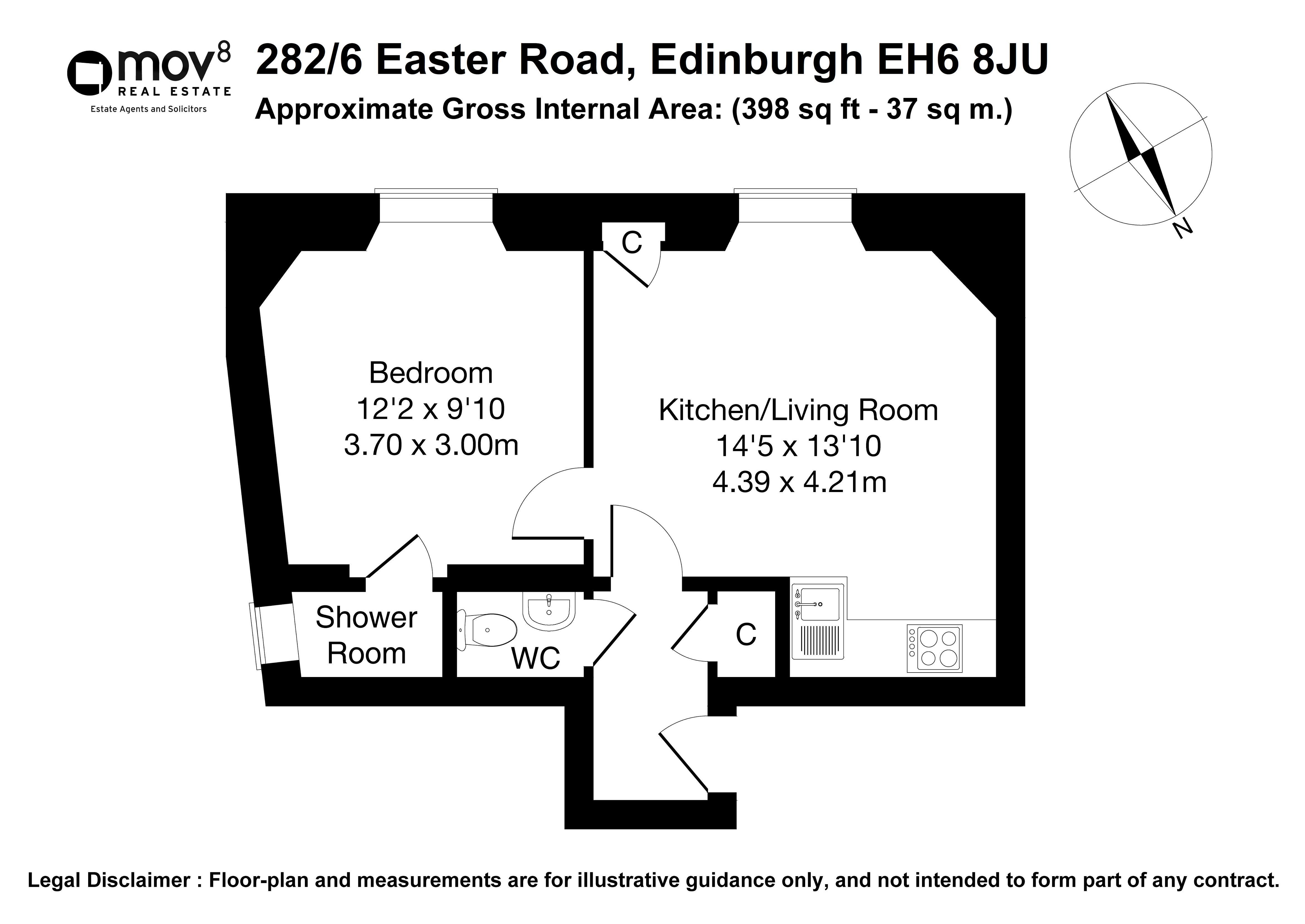 Floorplan 1 of 282/6, Easter Road, Easter Road, Edinburgh, EH6 8JU