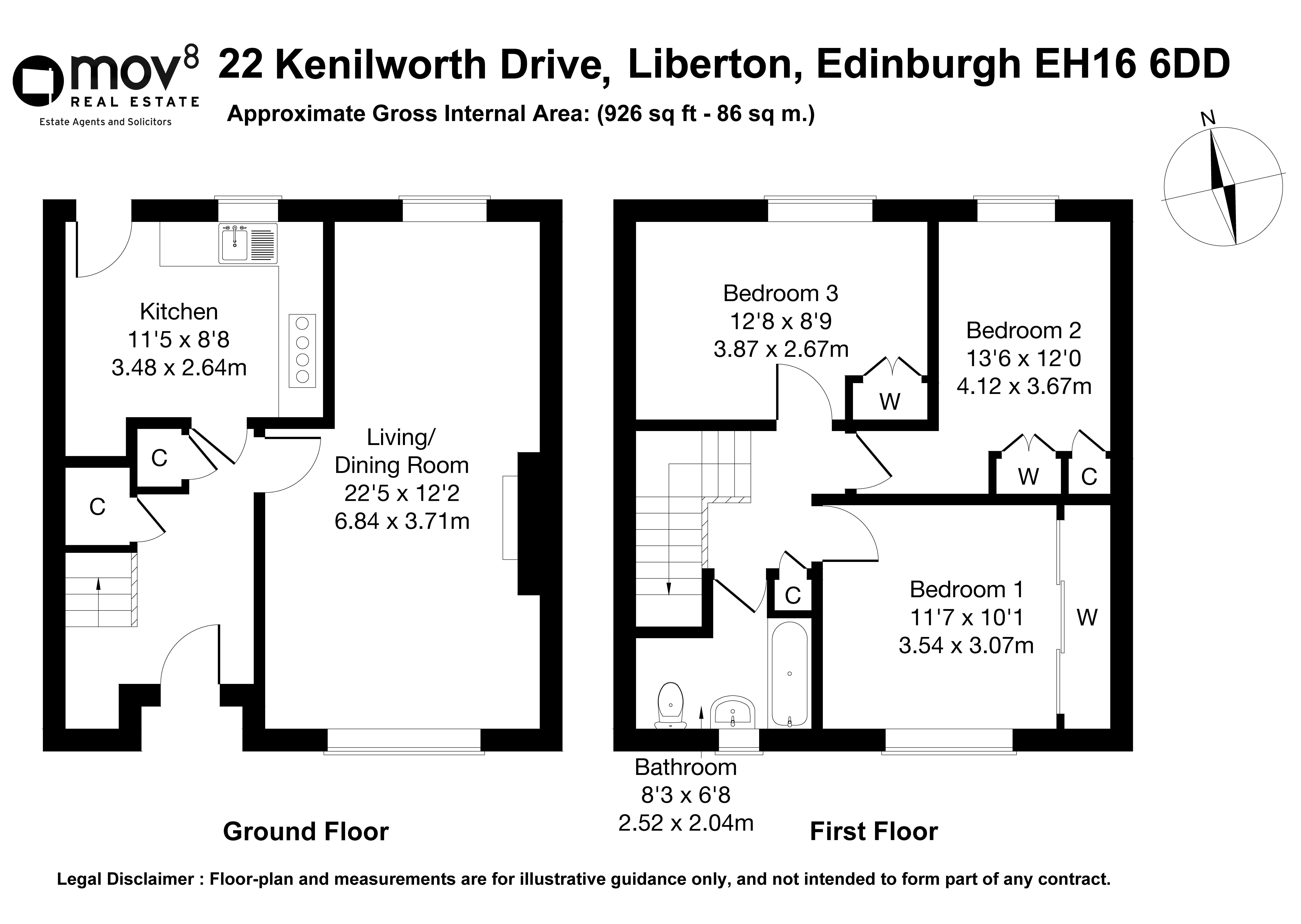 Floorplan 1 of 22 Kenilworth Drive, Liberton, Edinburgh, EH16 6DD