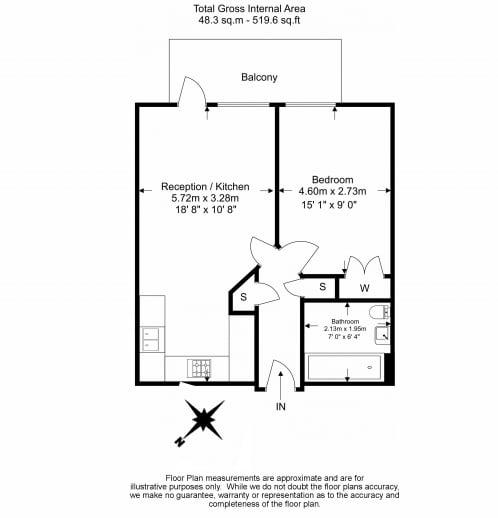 1 bedroom(s) apartment to sale in Eyot House, Sun Passage, Bermondsey-Floorplan