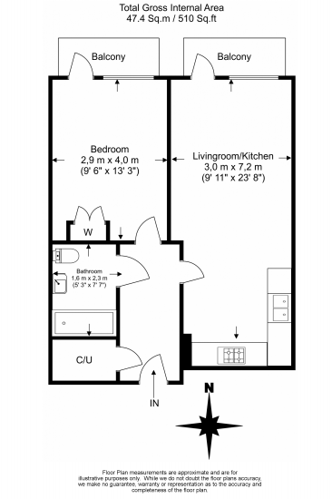 1 bedroom(s) apartment to sale in Ability Place. 37 Millharbour, Canary Wharf-Floorplan