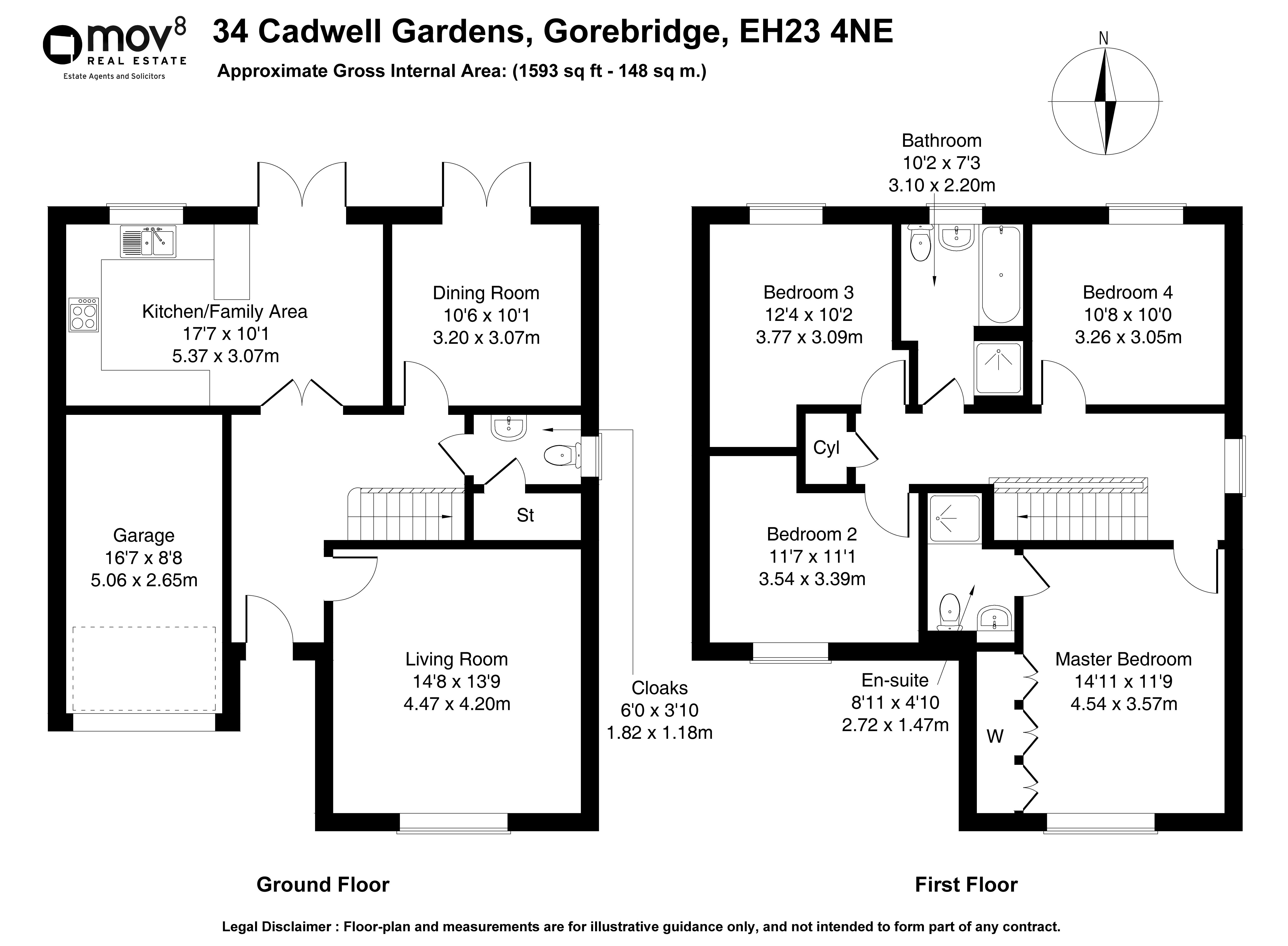 Floorplan 1 of 34 Cadwell Gardens, Gorebridge, Midlothian, EH23 4NE