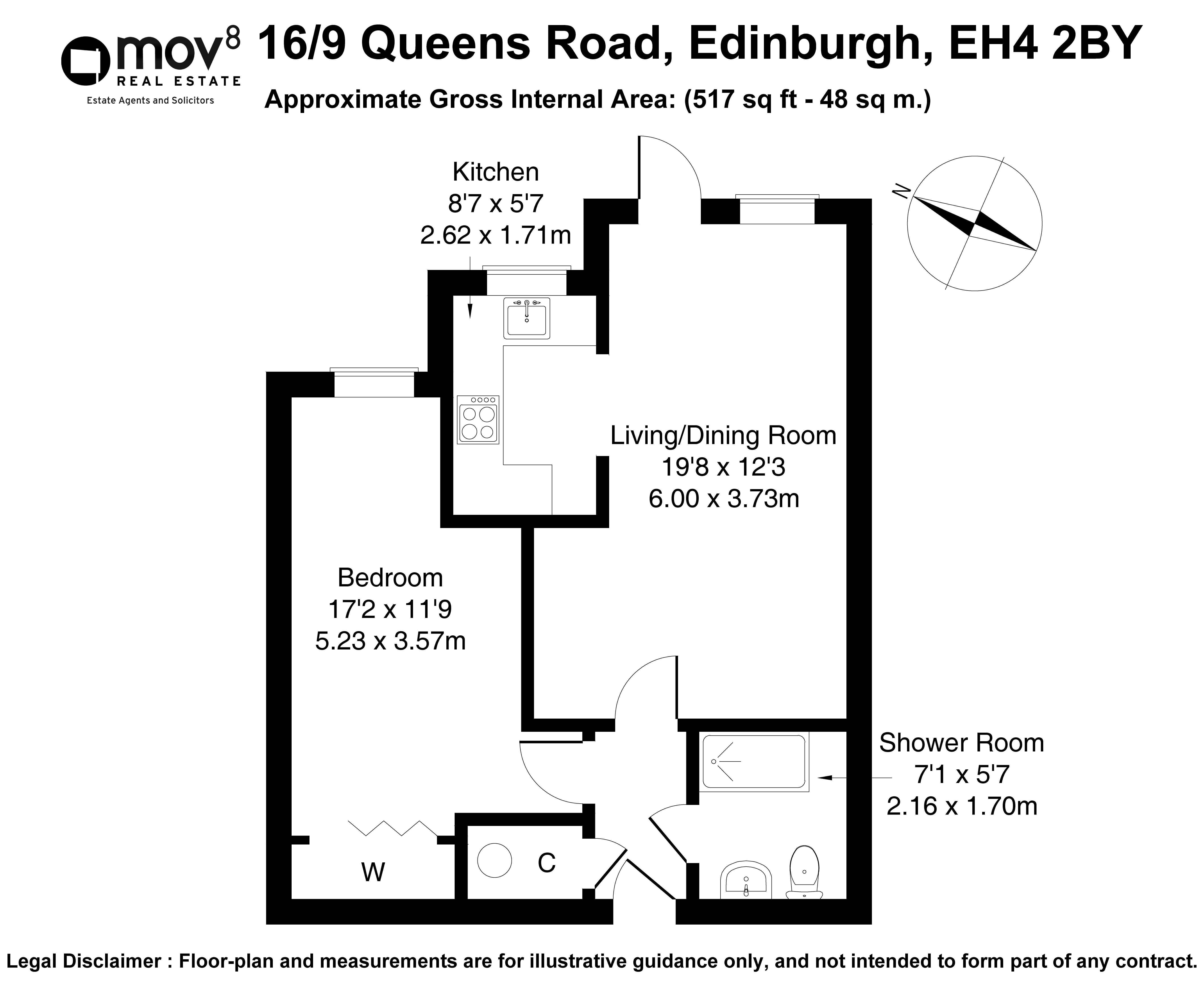 Floorplan 1 of 16/9, Queen's Road, Blackhall, Edinburgh, EH4 2BY