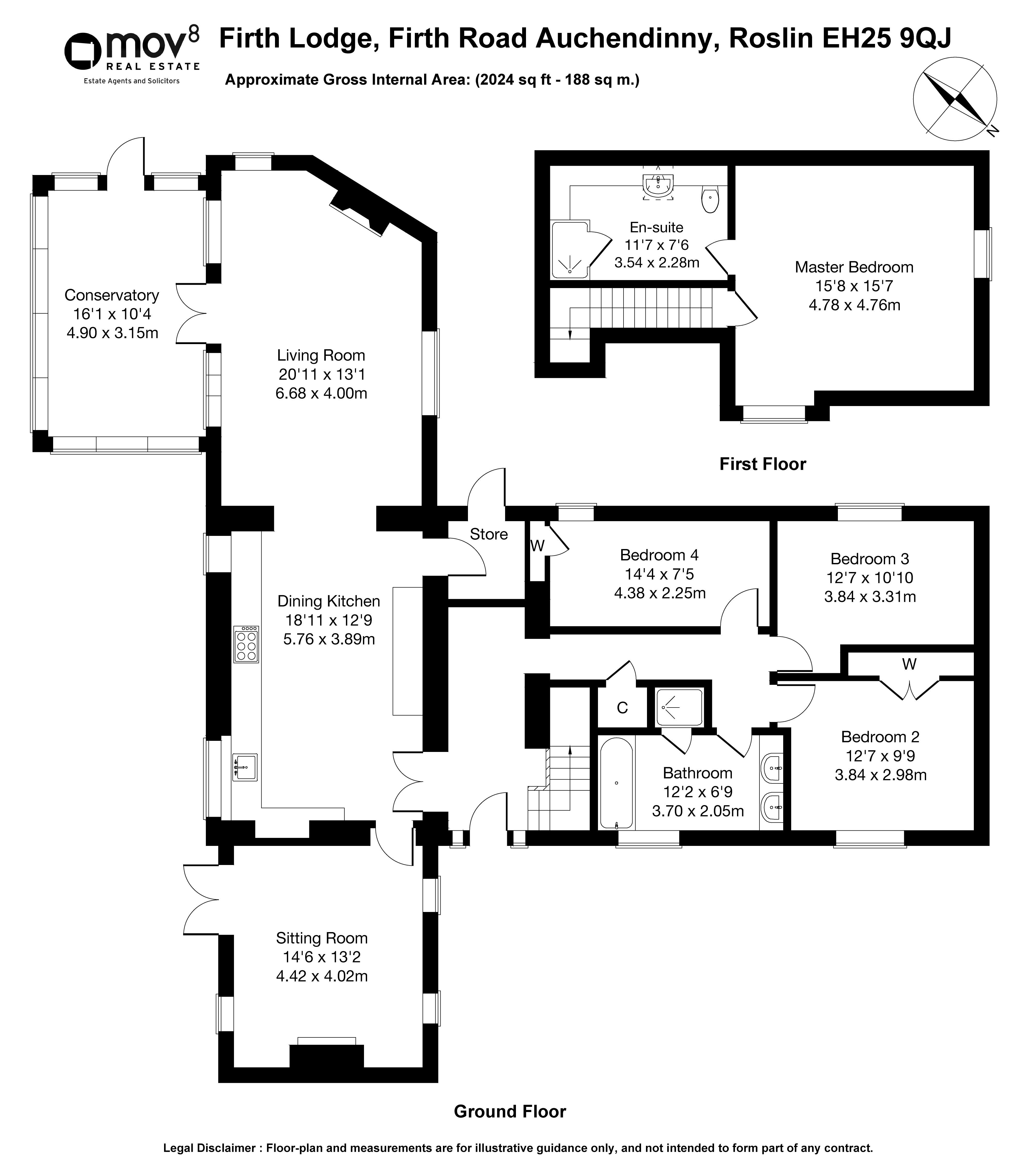 Floorplan 1 of Firth Lodge Firth Road, Auchendinny, Roslin, Midlothian, EH25 9QJ