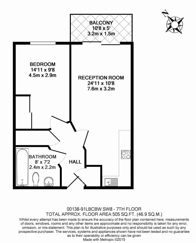 1 bedroom(s) apartment to sale in Lanson Building, 348 Queenstown Road, Battersea-Floorplan
