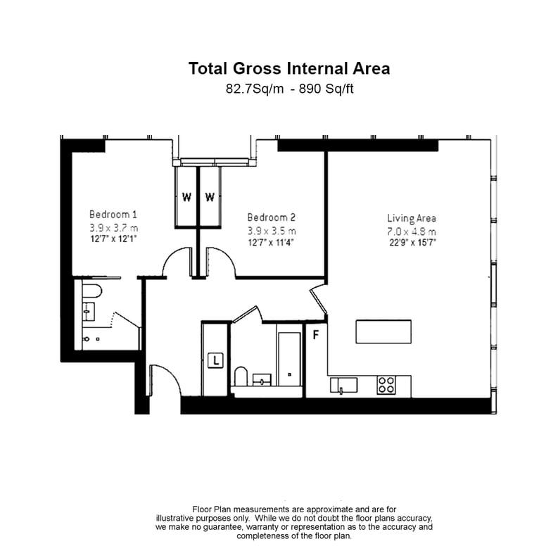 2 bedroom(s) apartment to sale in Landmark Pinnacle, 15 Westferry Road, Canary Wharf-Floorplan