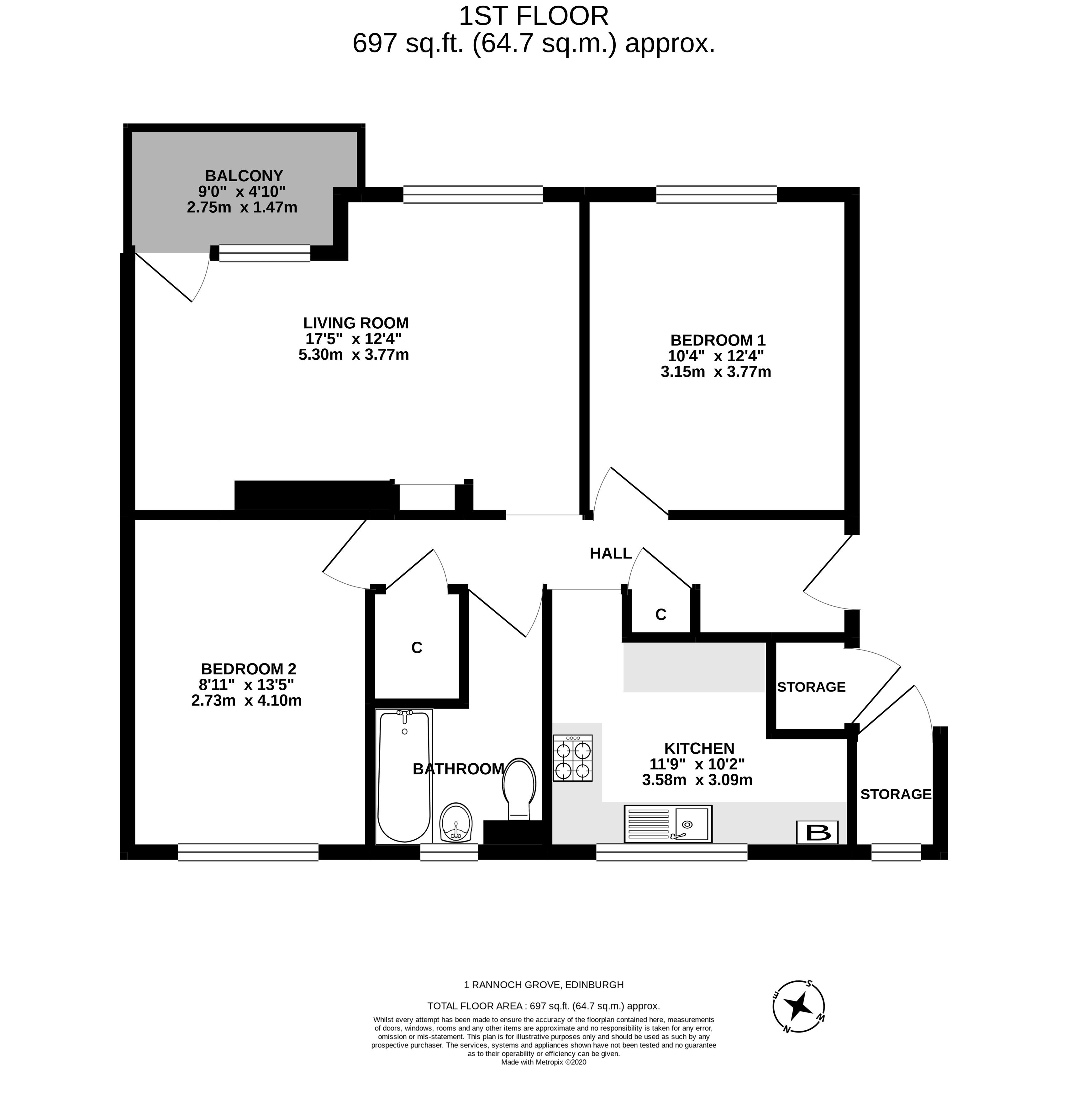 Floorplan 1 of 1/4, Rannoch Grove, Clermiston, Edinburgh, EH4 7EH