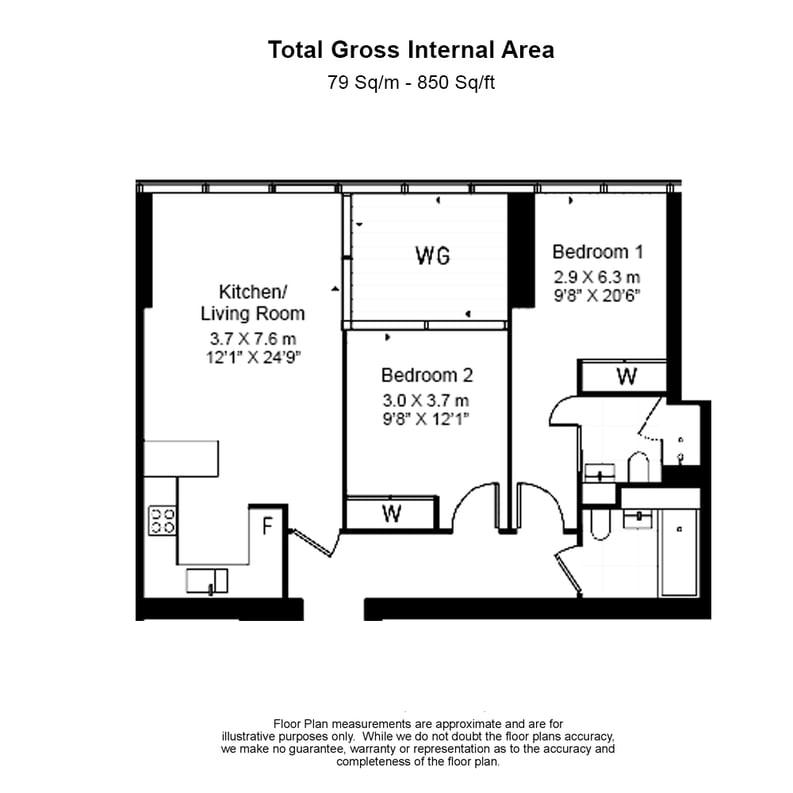 2 bedroom(s) apartment to sale in The Landmark Pinnacle, 15 Westferry Road, Canary Wharf-Floorplan