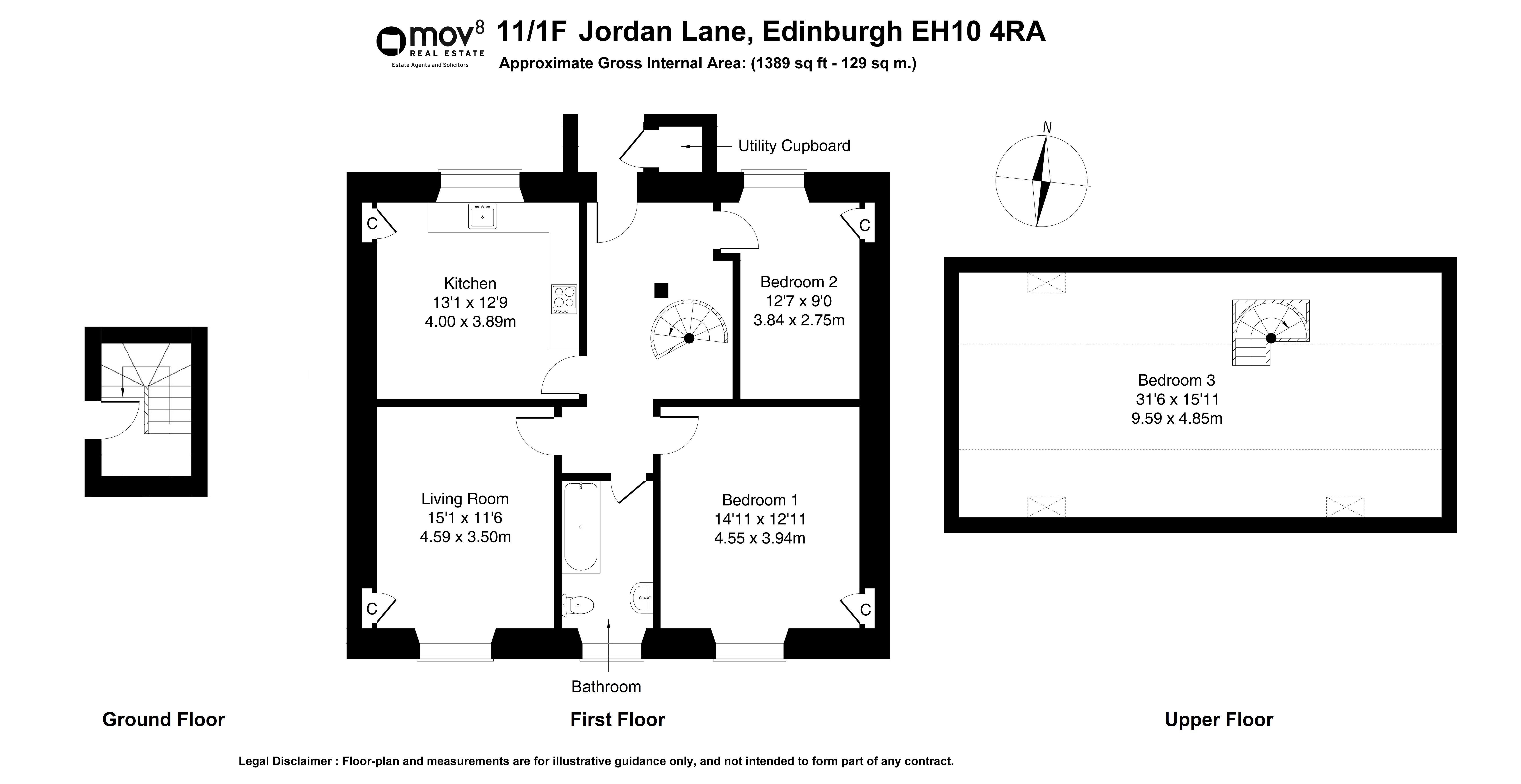 Floorplan 1 of 11/1F Jordan Lane, Morningside, Edinburgh, EH10 4RA