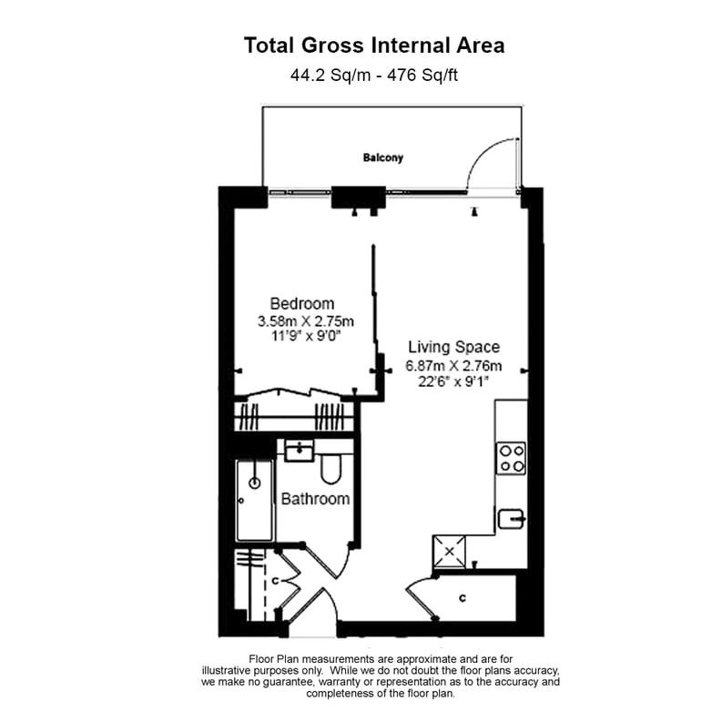 1 bedroom(s) apartment to sale in Fairbank House , Beaufort Park , Colindale, London-Floorplan