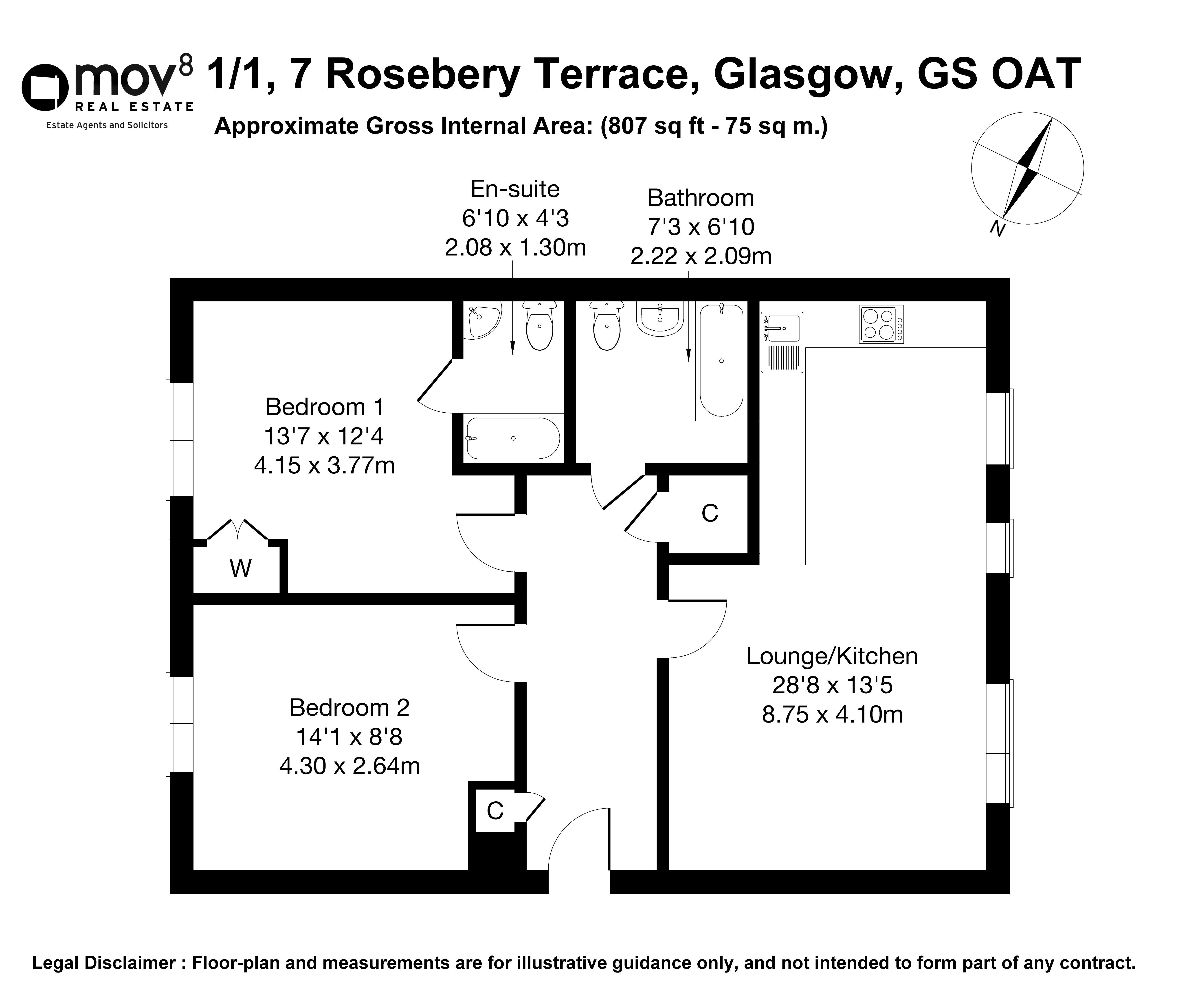 Floorplan 1 of 1/1, 7 Rosebery Terrace, Oatlands, Glasgow, G5 0AT