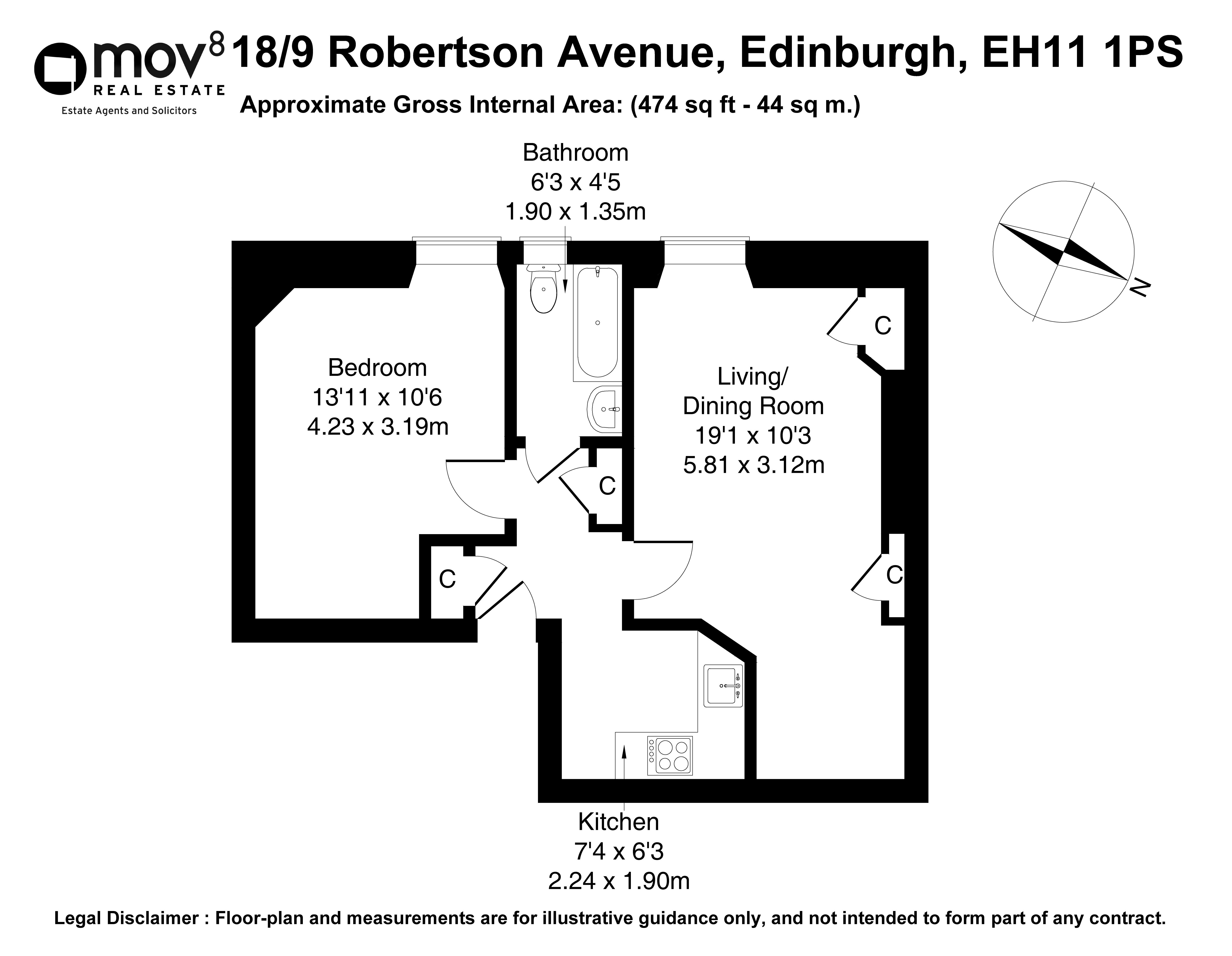 Floorplan 1 of 18/9, Robertson Avenue, Edinburgh, EH11 1PS