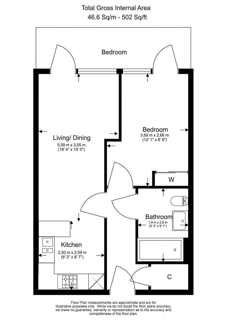 1 bedroom(s) apartment to sale in Vista House, Dickens Yard, Ealing-Floorplan