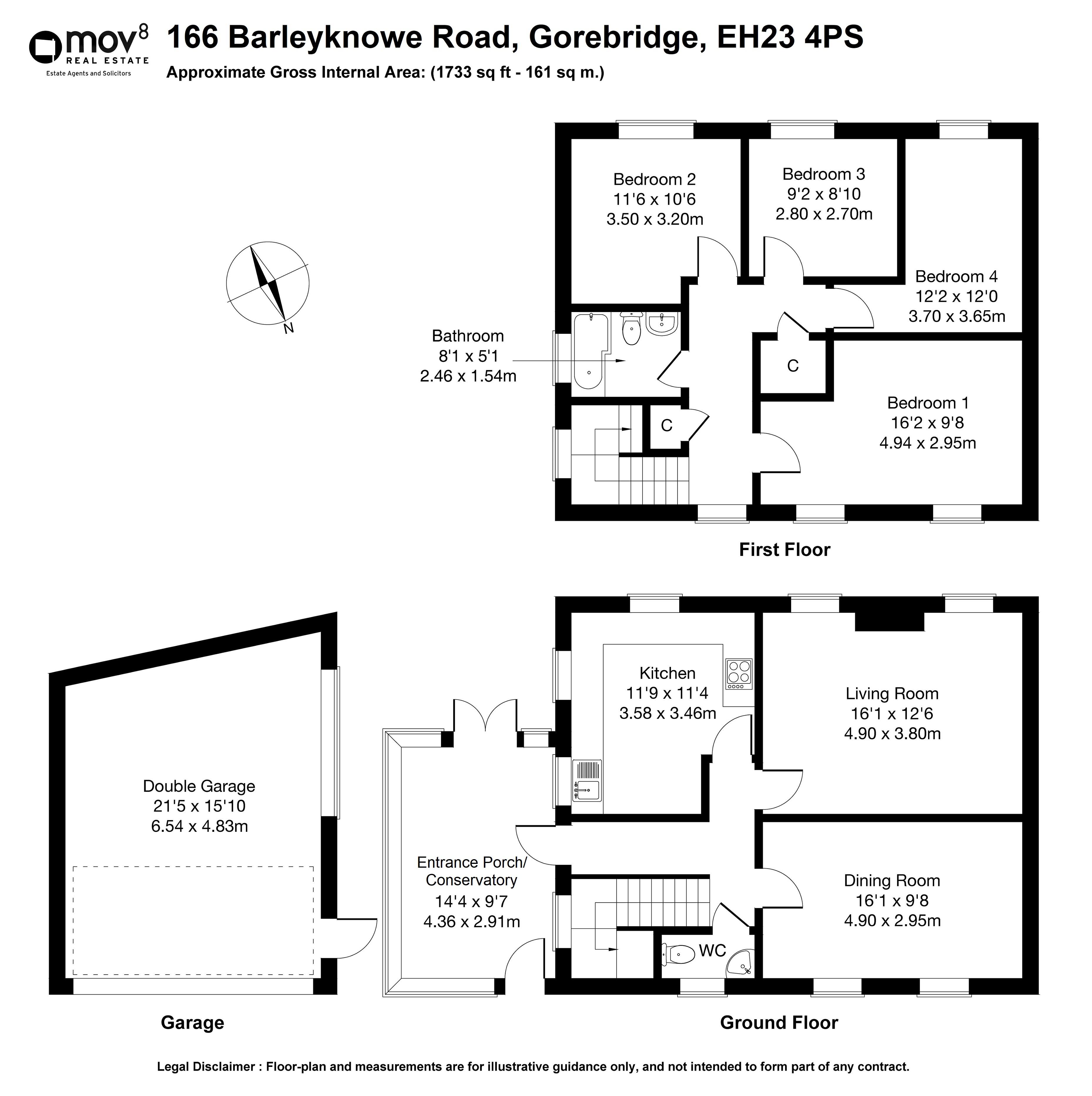 Floorplan 1 of 166 Barleyknowe Road, Gorebridge, Midlothian, EH23 4PS